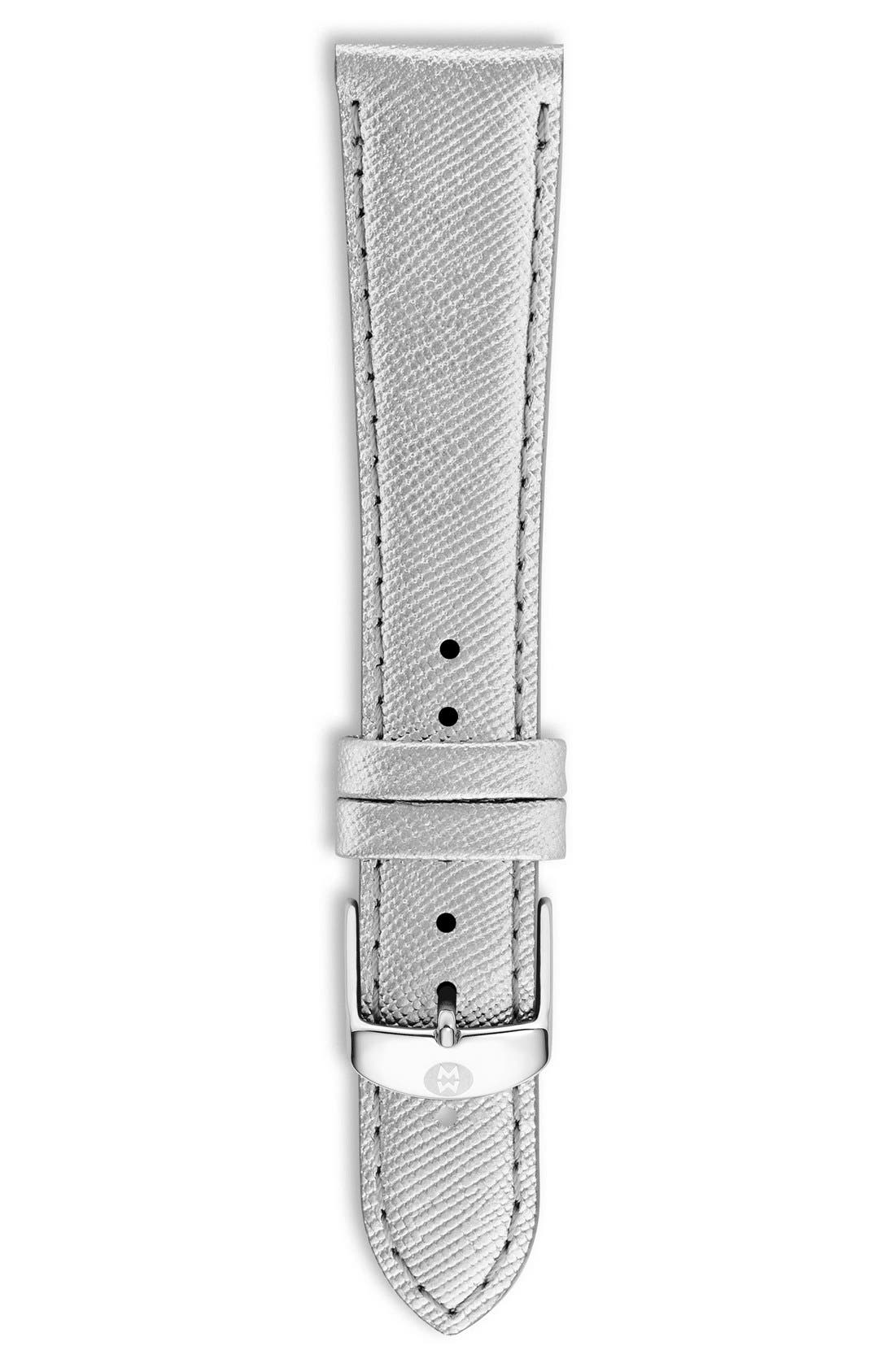 16mm Metallic Leather Watch Strap,                             Main thumbnail 1, color,                             Metallic C