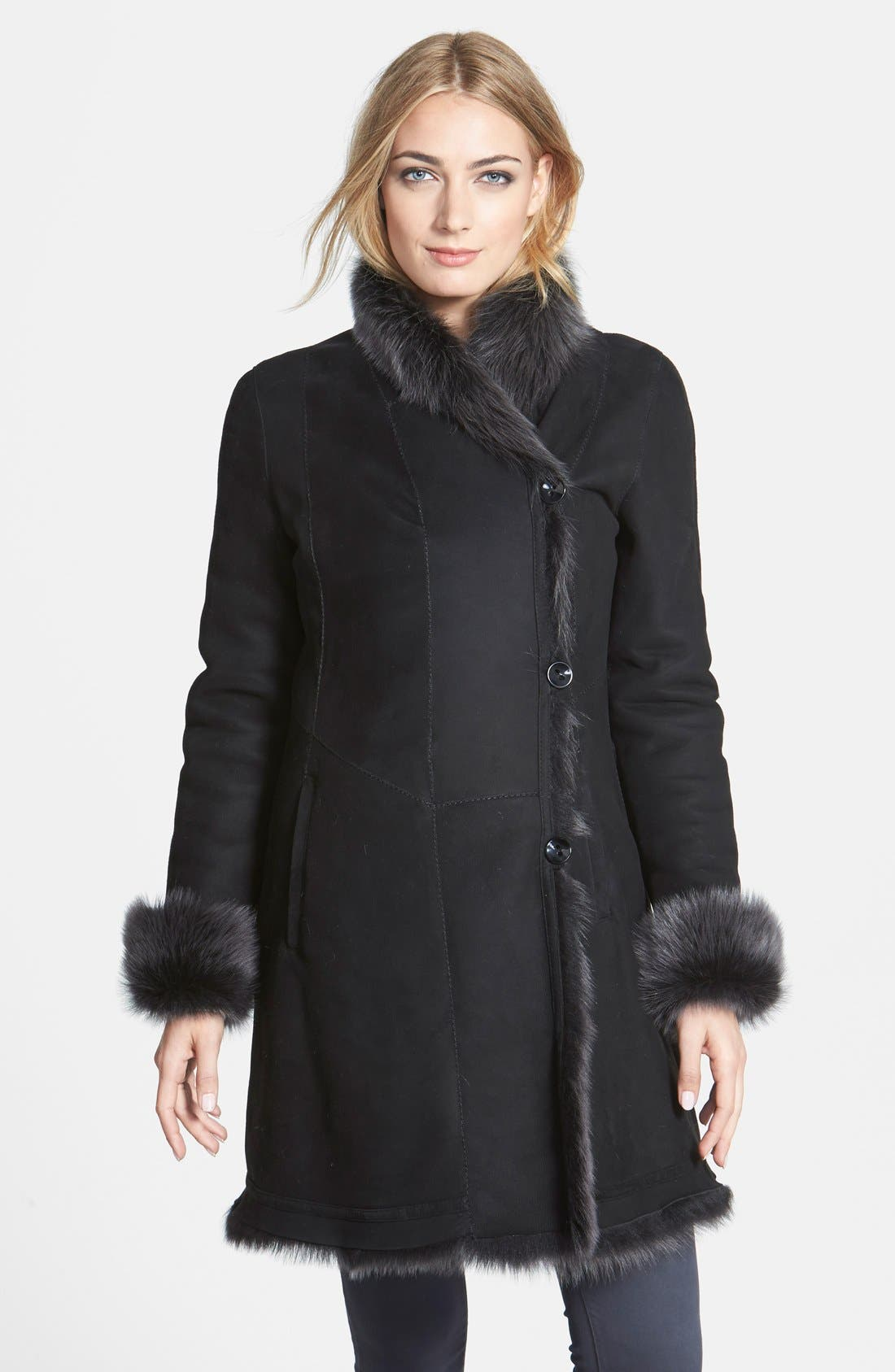 HIDESOCIETY Asymmetrical Genuine Toscana Shearling Coat