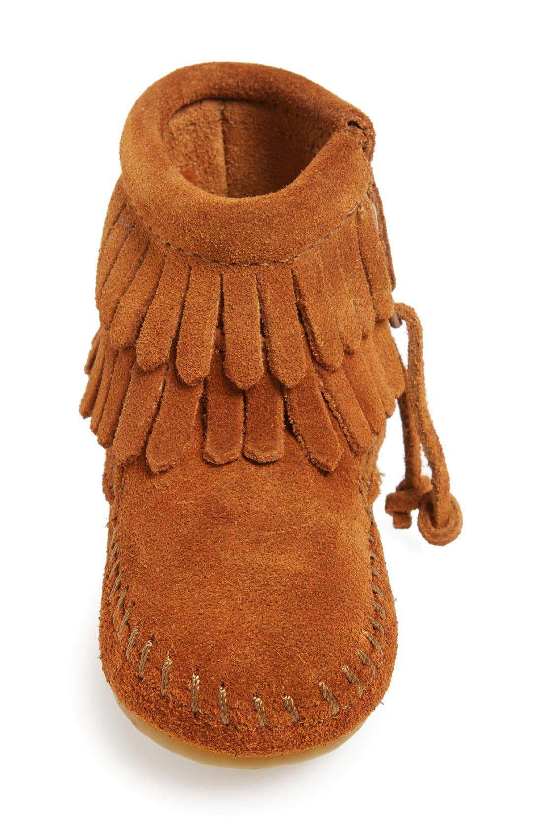 Double Fringe Moccasin,                             Alternate thumbnail 3, color,                             Brown