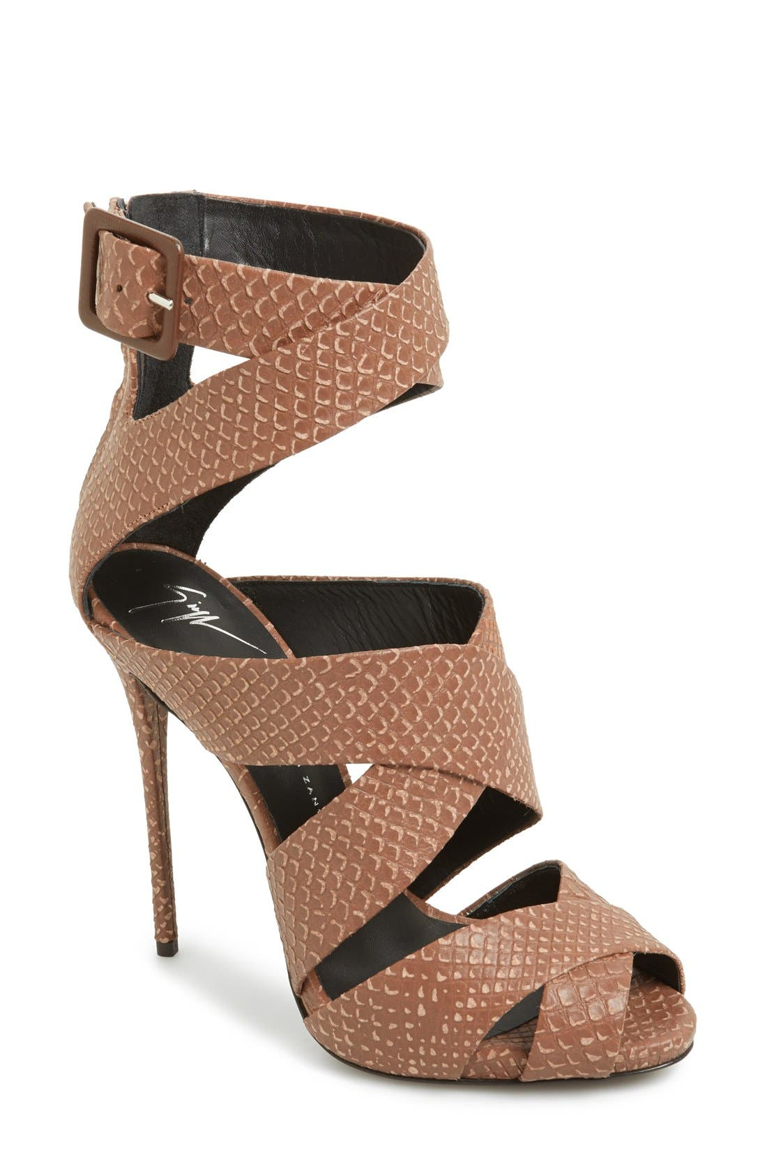 Main Image - Giuseppe Zanotti 'Coline' Snake Embossed Leather Sandal (Women)
