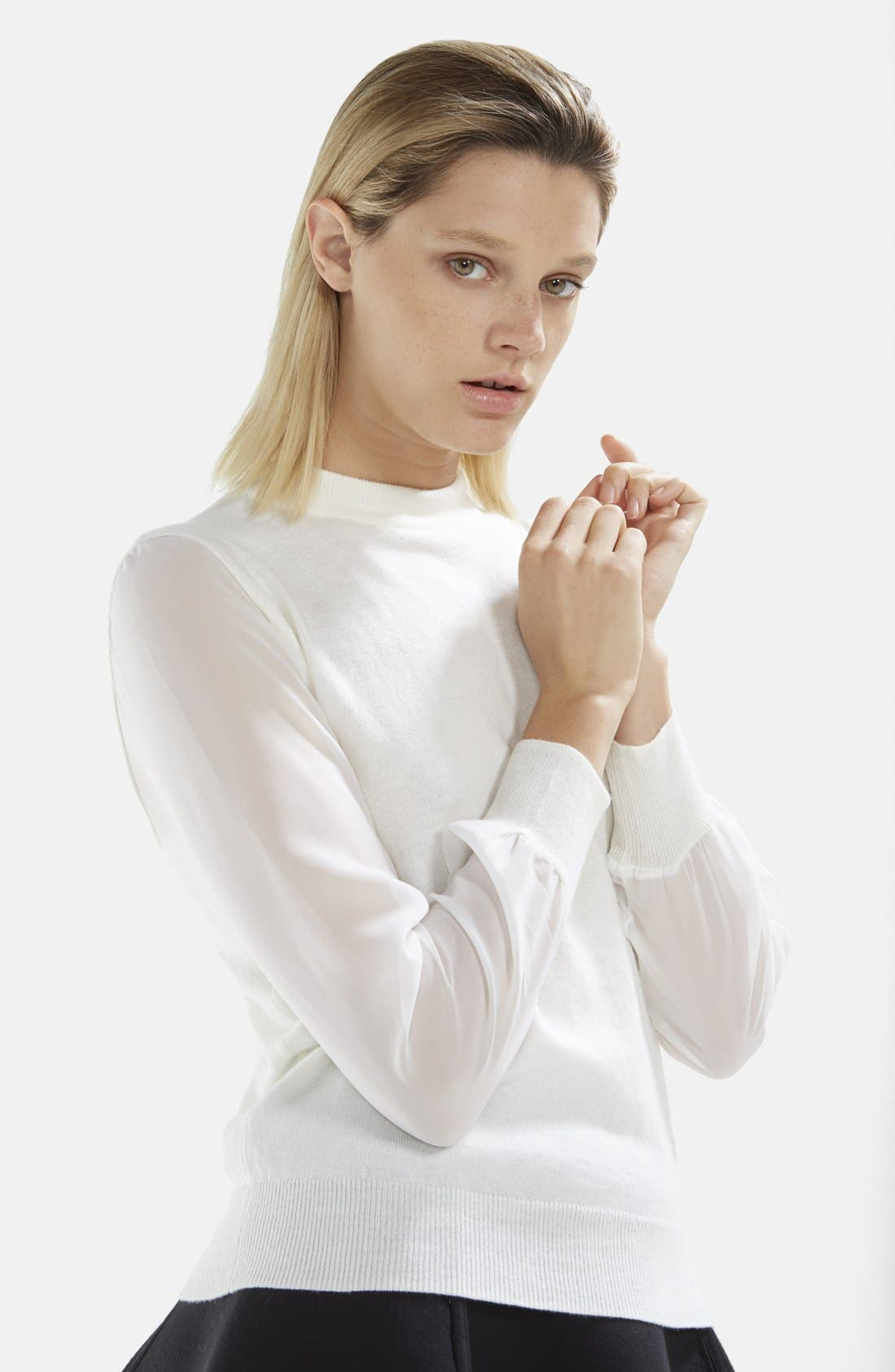 Chiffon Sleeve Knit Pullover,                             Alternate thumbnail 2, color,                             Raw White