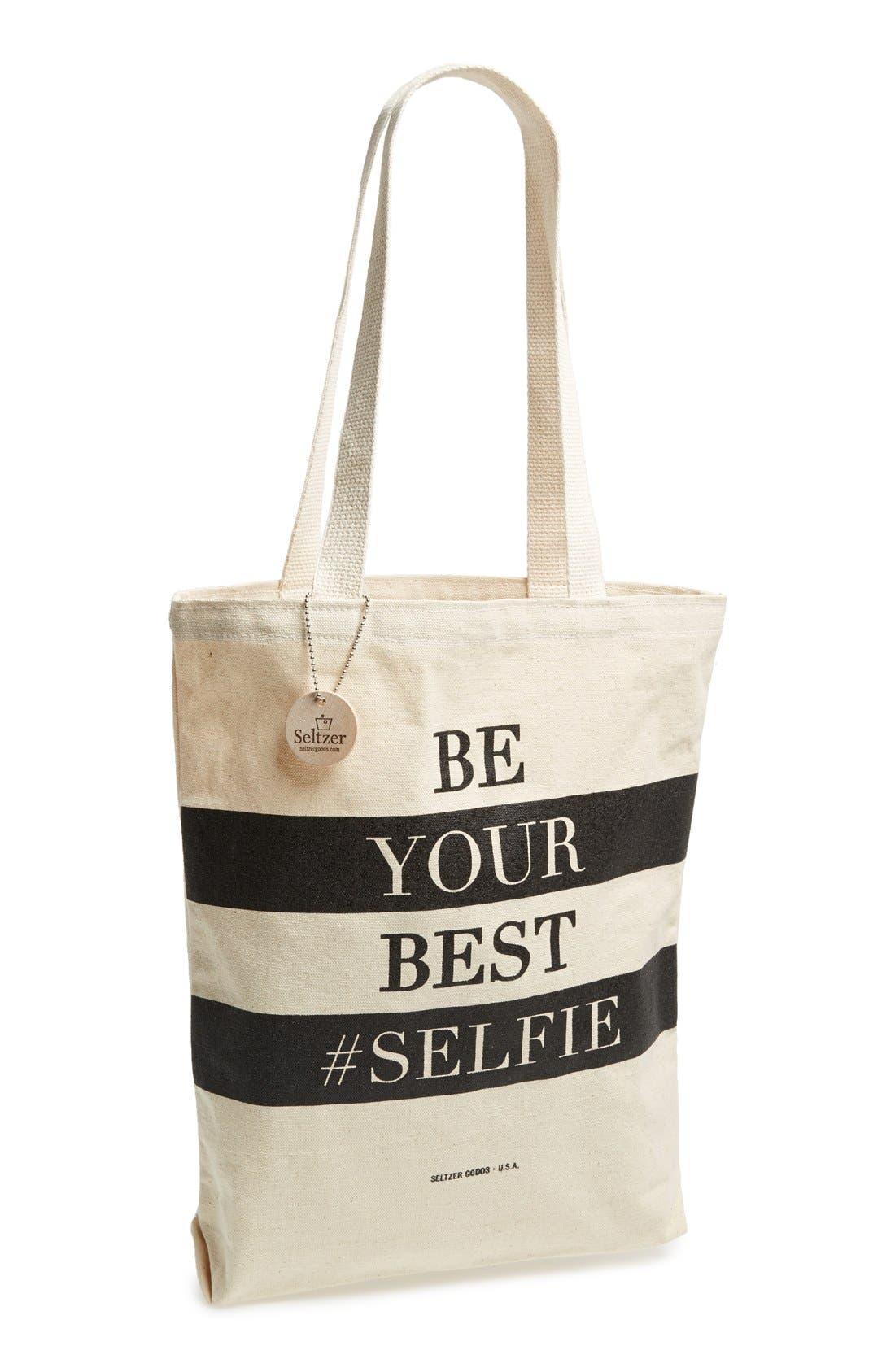 Alternate Image 1 Selected - Seltzer 'Be Your Best #Selfie' Tote (Juniors)