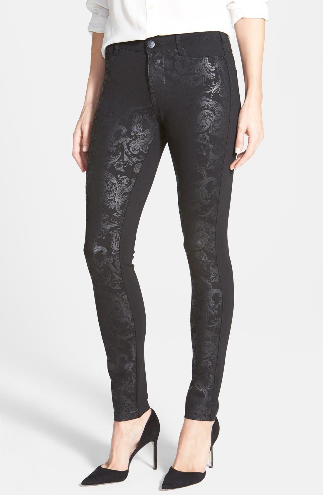Alternate Image 1 Selected - Liverpool Jeans Company 'Madonna' Gloss Print Stretch Knit Skinny Pants
