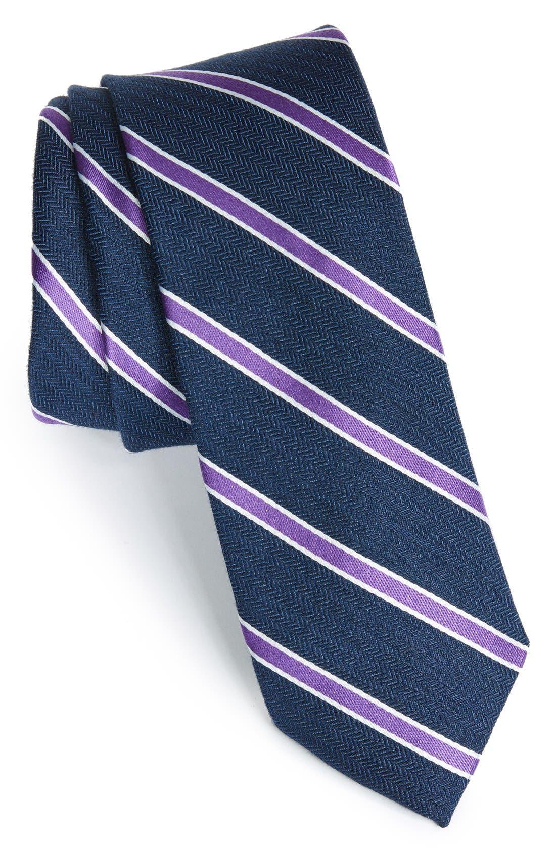 Alternate Image 1 Selected - 1901 'Smoak' Stripe Woven Silk & Cotton Tie