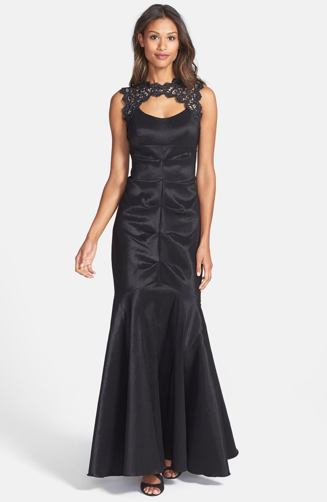 Alternate Image 1 Selected - Xscape Lace & Taffeta Mermaid Gown (Regular & Petite)