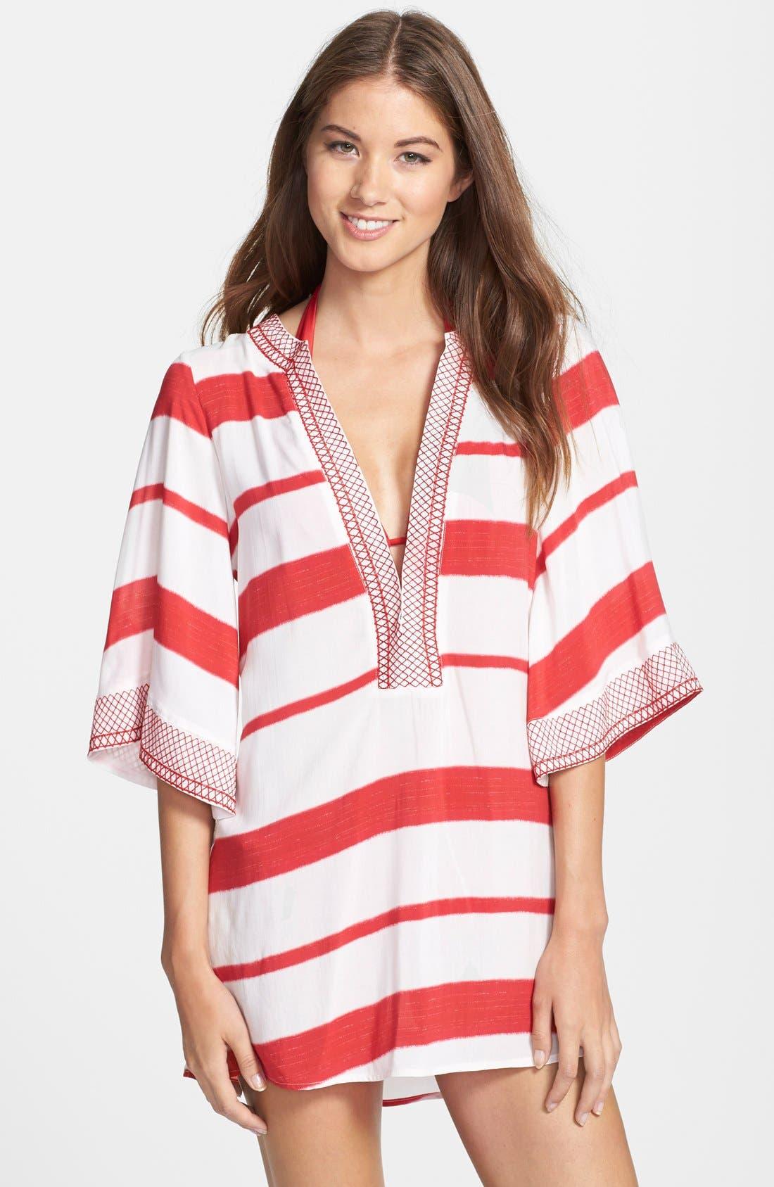 'Desert Helen' Stripe Cover-Up Tunic,                         Main,                         color, Desert