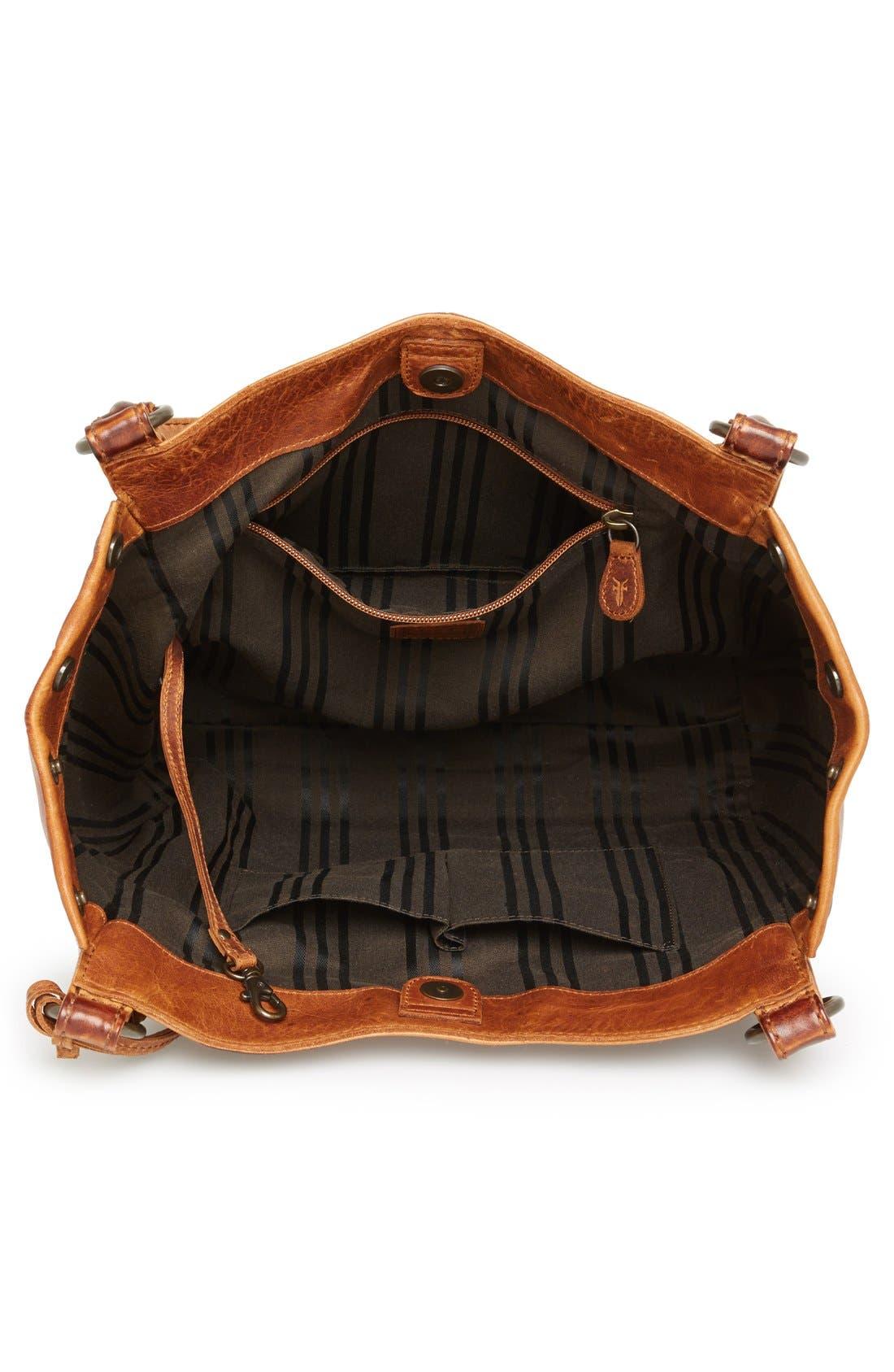 Melissa Leather Shoulder Bag,                             Alternate thumbnail 4, color,                             Cognac
