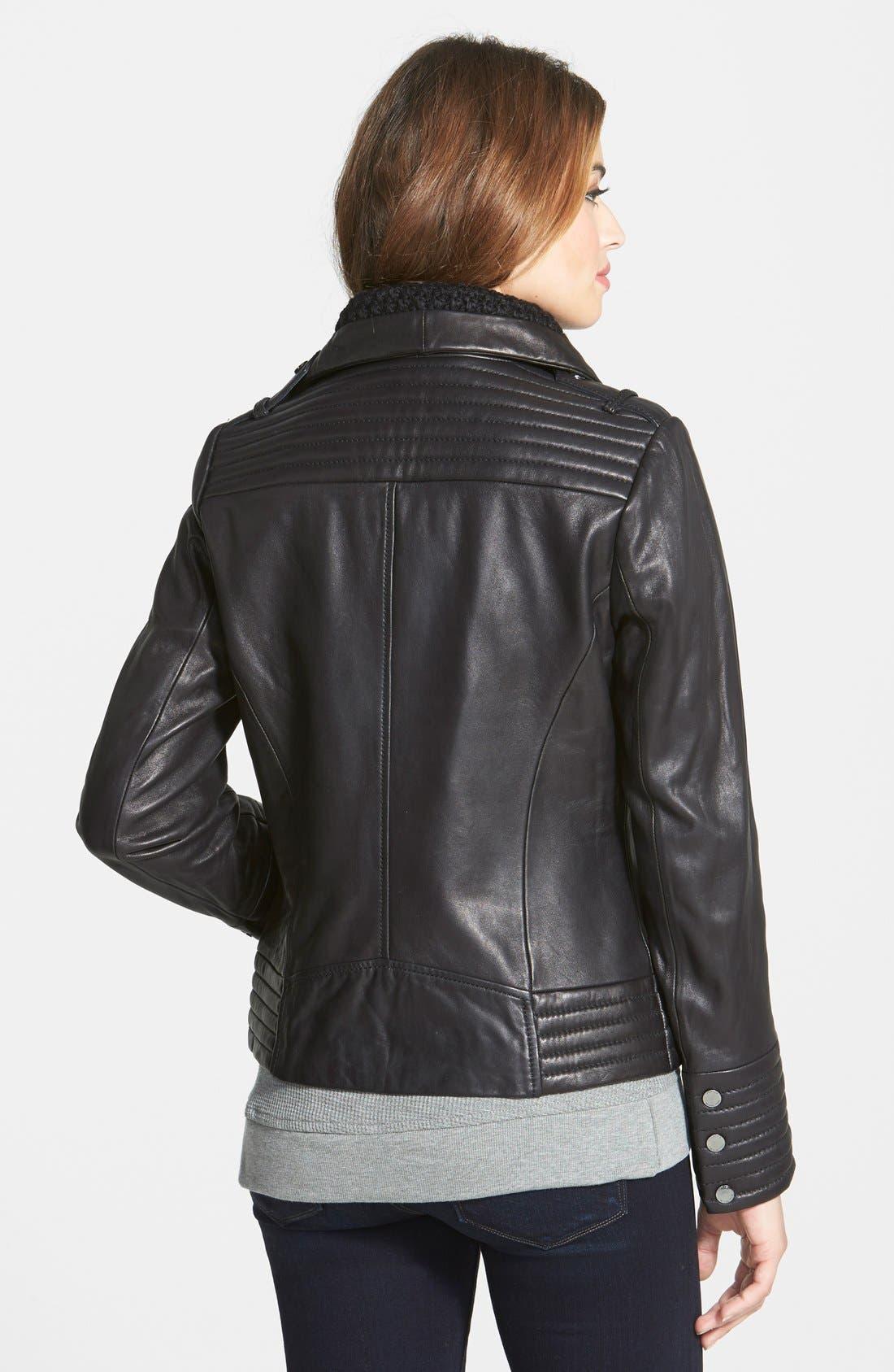 Alternate Image 2  - MICHAEL Michael Kors Knit Collar Asymmetrical Leather Jacket