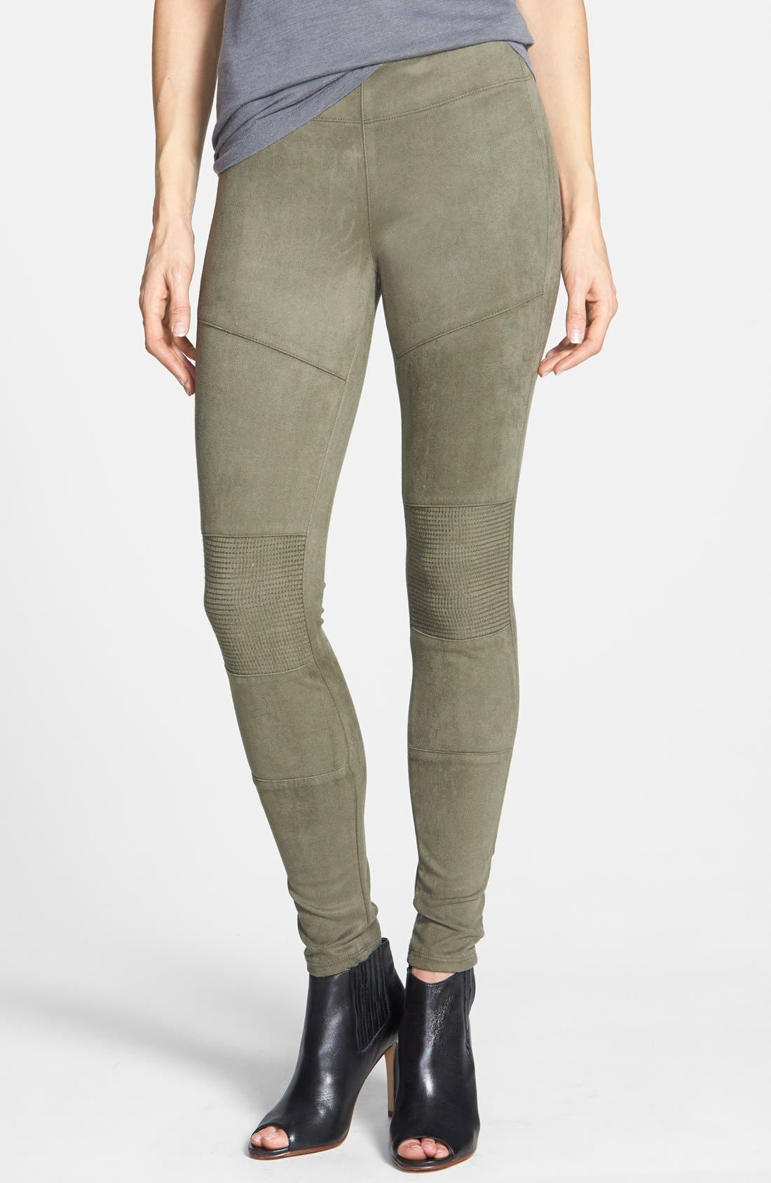 Main Image - Yoga Jeans by Second Denim Faux Suede Moto Leggings