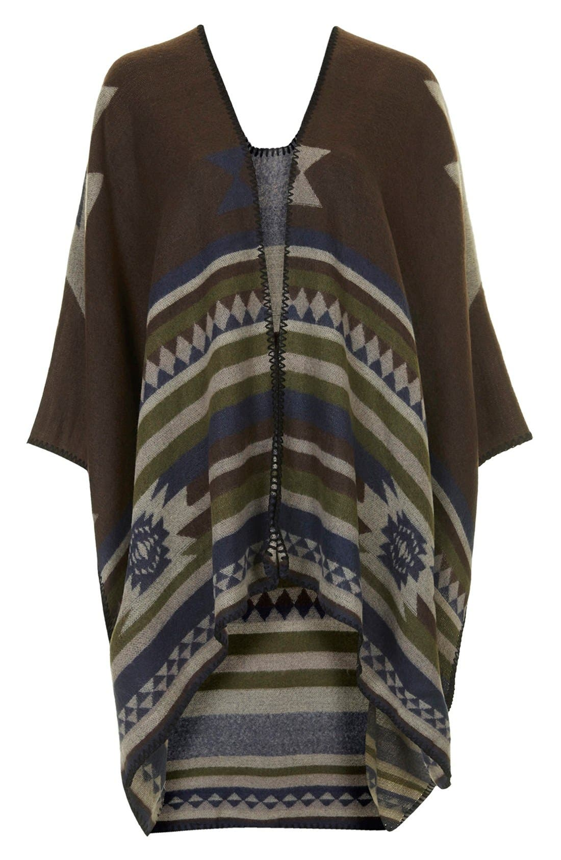 Geo Print Poncho,                             Alternate thumbnail 3, color,                             Brown