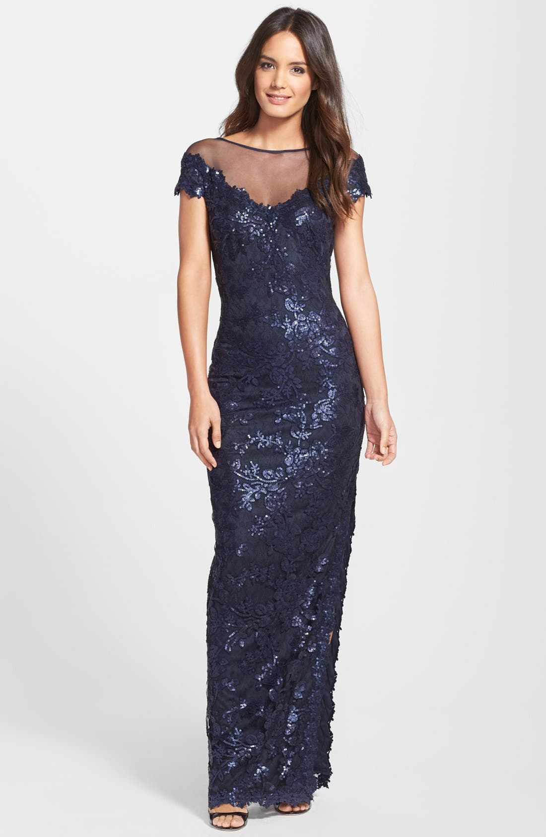 Main Image - Tadashi Shoji Cap Sleeve Sequin Lace Embroidered Gown
