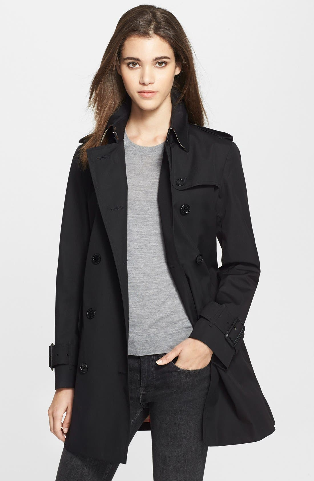 Alternate Image 2  - Burberry Brit 'Marystow' Double Breasted Poplin Short Trench Coat