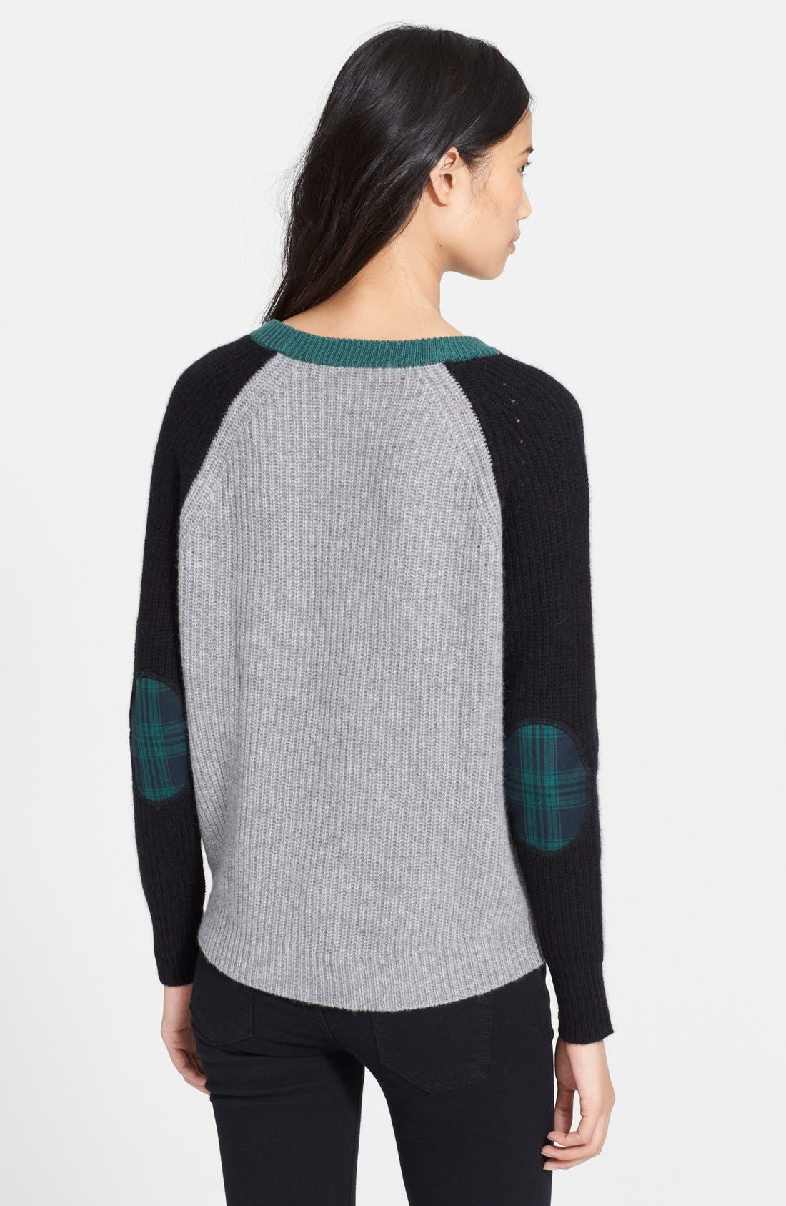 Alternate Image 2  - autumn cashmere Elbow Patch Chunky Cashmere Knit Sweater