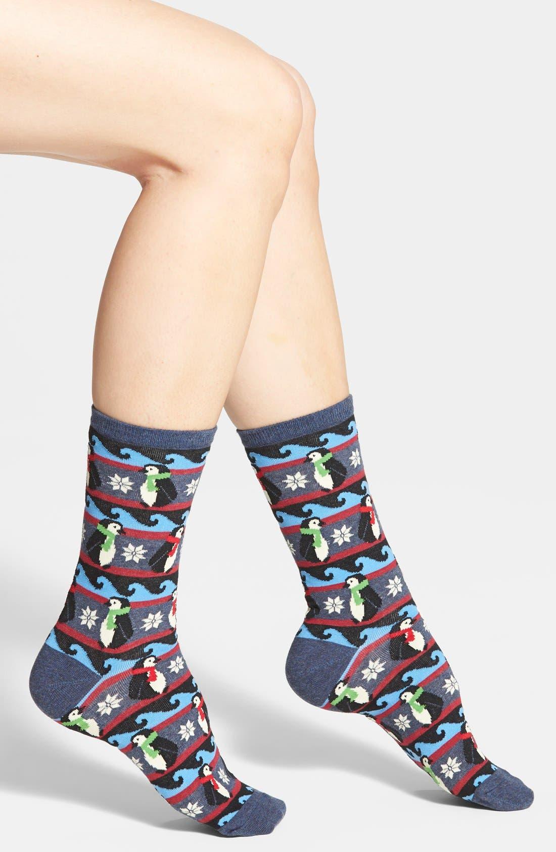 Alternate Image 1 Selected - Hot Sox 'Penguin Fair Isle' Crew Socks