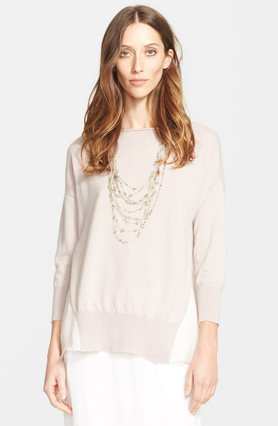 Alternate Image 1 Selected - Fabiana Filippi Chiffon Panel Cashmere Sweater