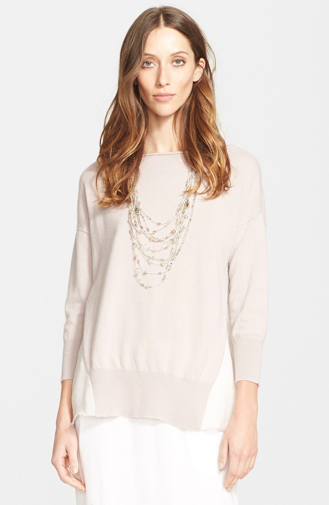 Main Image - Fabiana Filippi Chiffon Panel Cashmere Sweater