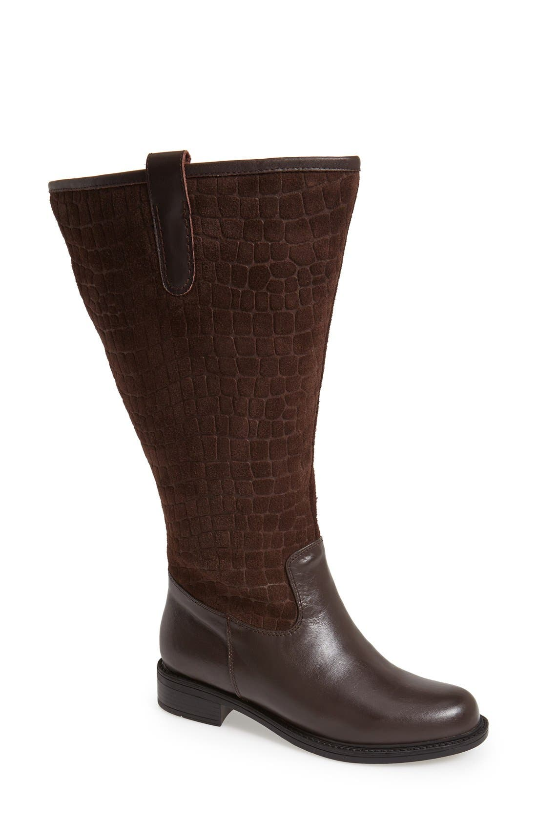 'Best' Calfskin Leather & Suede Boot,                             Main thumbnail 1, color,                             Brown Calf/ Suede