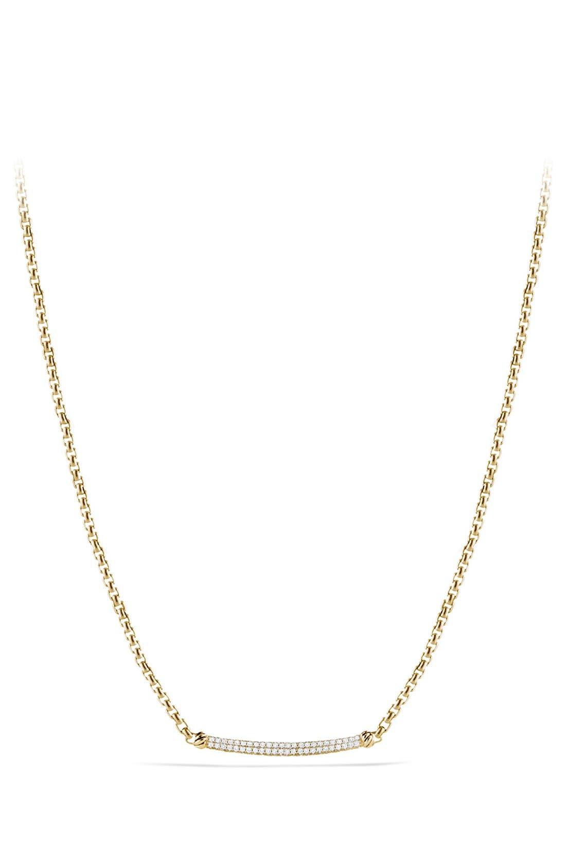 Alternate Image 1 Selected - David Yurman 'Petite Pavé' Metro Chain Necklace with Diamonds in Gold