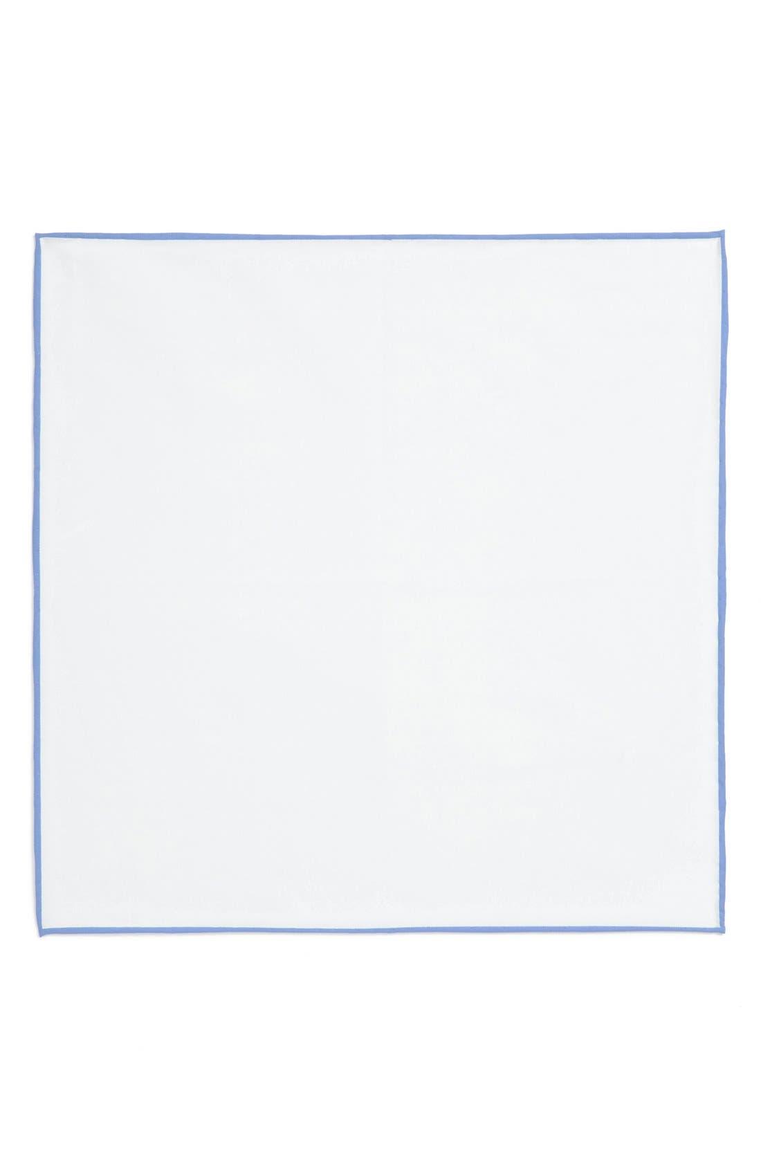 Cotton Solid Pocket Square,                             Alternate thumbnail 3, color,                             White/ Light Blue