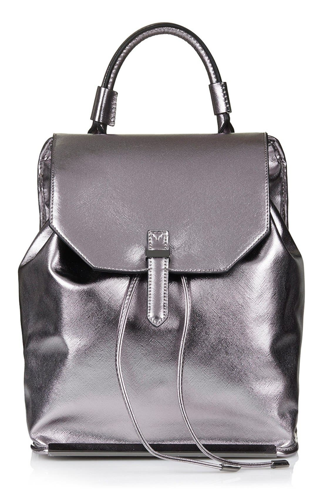 Main Image - Topshop Metallic Faux Leather Backpack