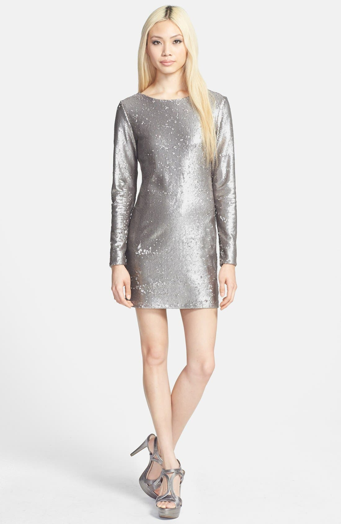 Main Image - Glamorous V-Back Sequin Dress Sequin