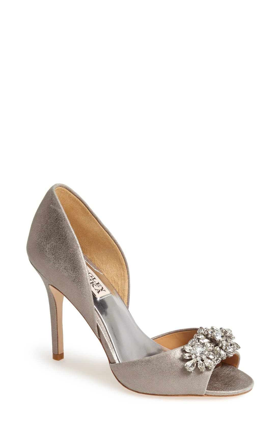 'Giana' Satin d'Orsay Pump,                             Main thumbnail 1, color,                             Pewter
