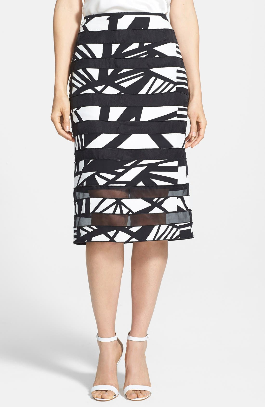 Main Image - Lafayette 148 New York 'Modmix' Print Silk Pencil Skirt