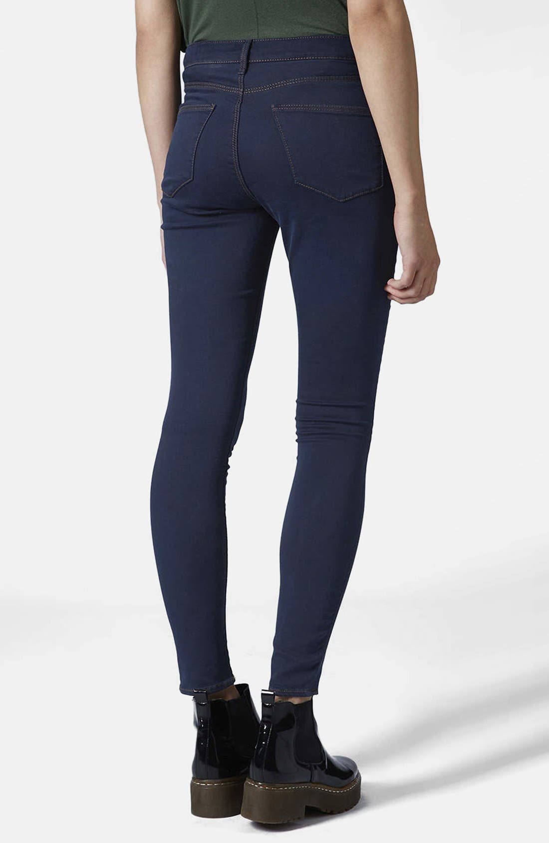 Alternate Image 2  - Topshop Moto 'Leigh' Skinny Jeans (Blue) (Regular & Short)