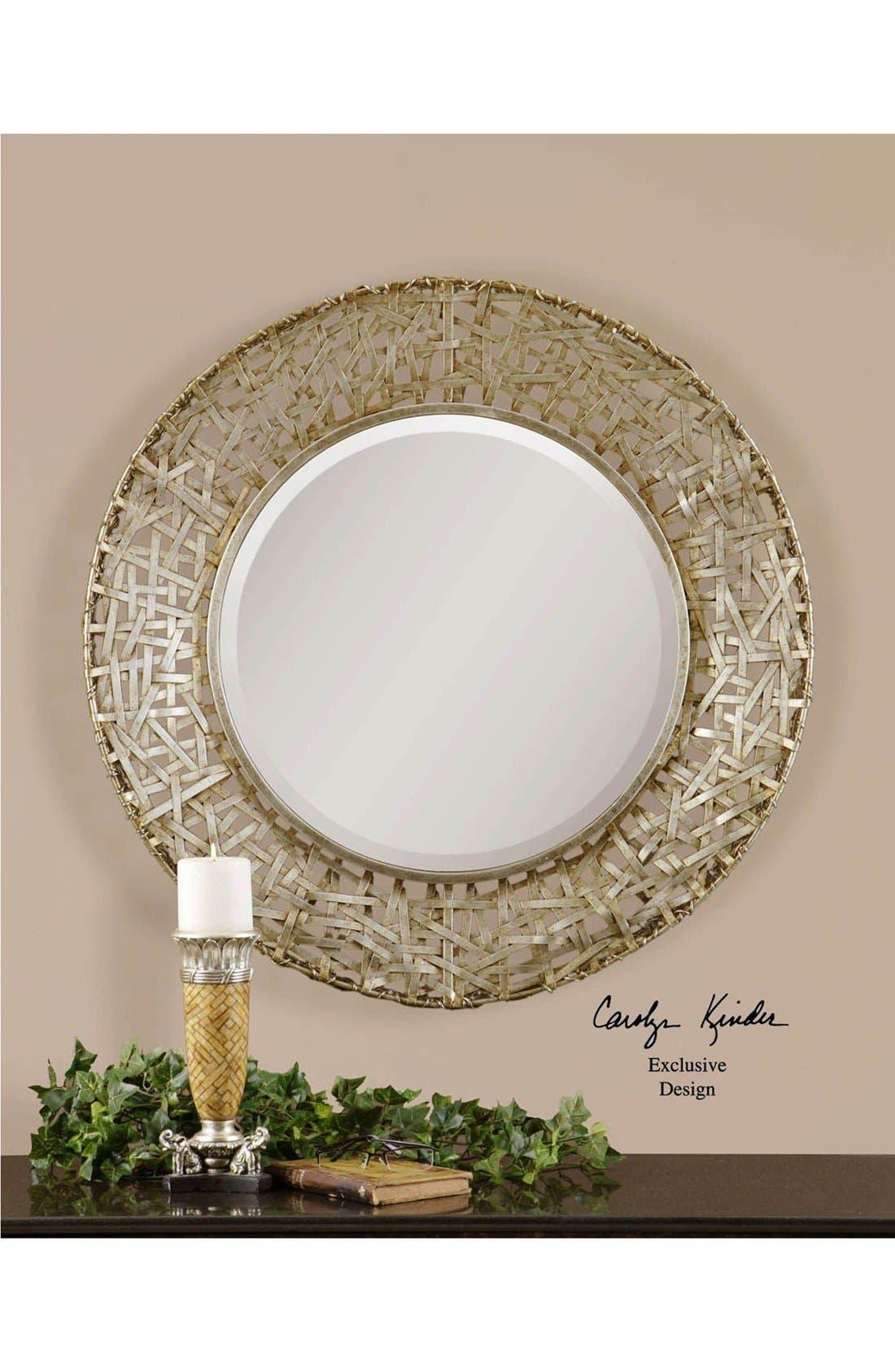 'Alita' Woven Metallic Frame Mirror,                             Alternate thumbnail 3, color,                             Silver