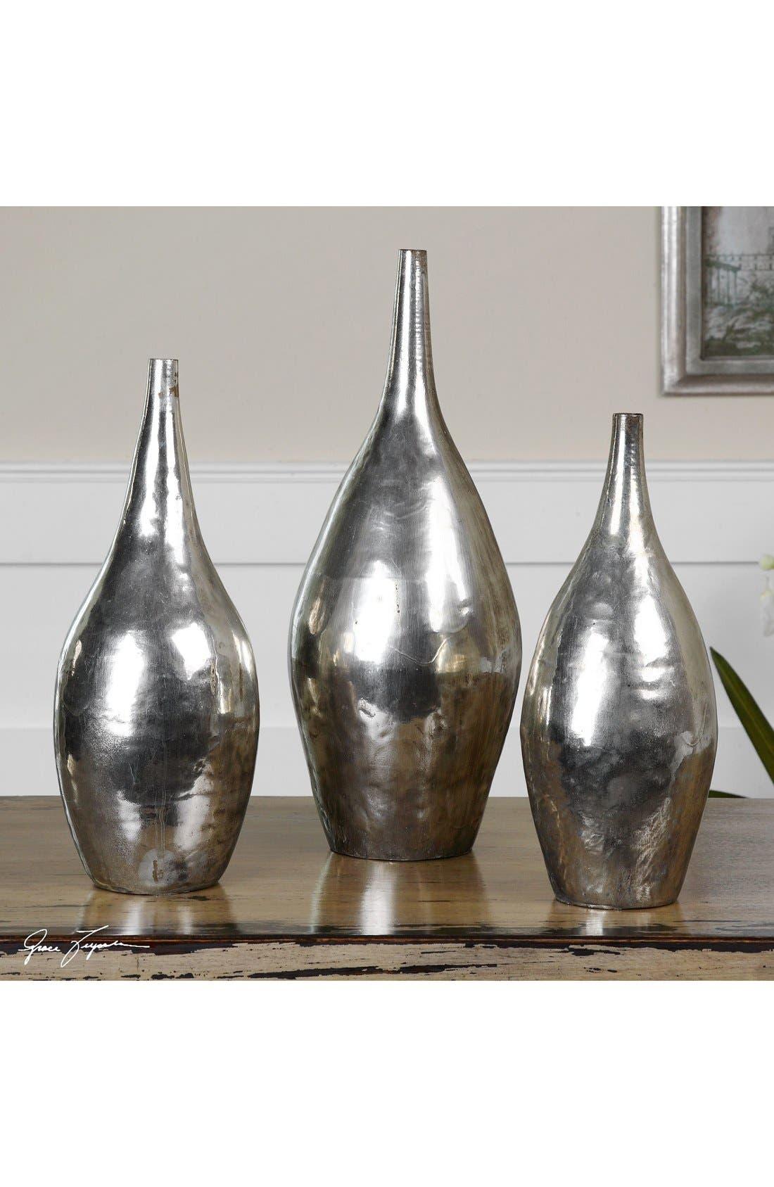 'Rajata' Antiqued Metal Vases,                             Alternate thumbnail 2, color,                             Silver