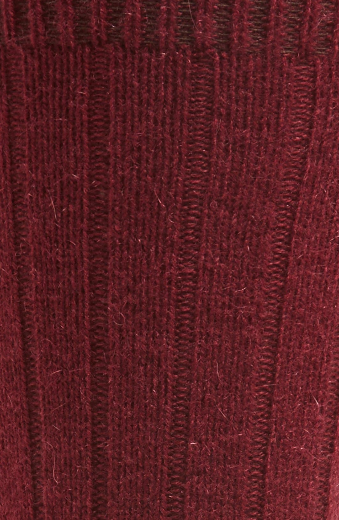 'Waddington' Cashmere Blend Mid Calf Socks,                             Alternate thumbnail 2, color,                             Port