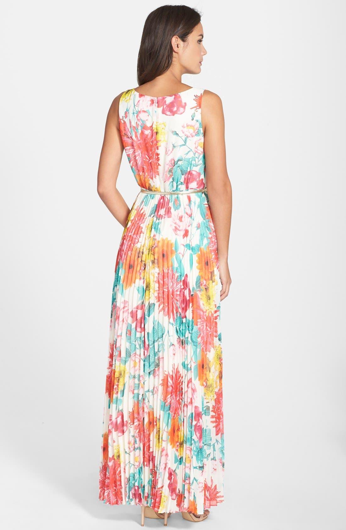 Alternate Image 2  - Eliza J Belted Floral Print Chiffon Maxi Dress (Regular & Petite)