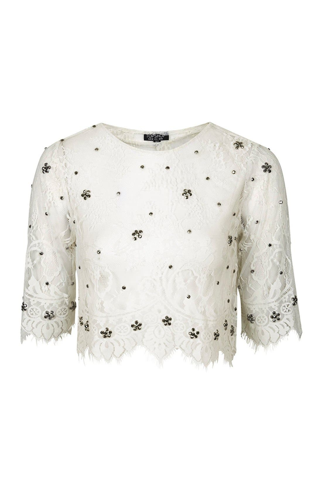 Alternate Image 3  - Topshop Sheer Mesh Crop Top