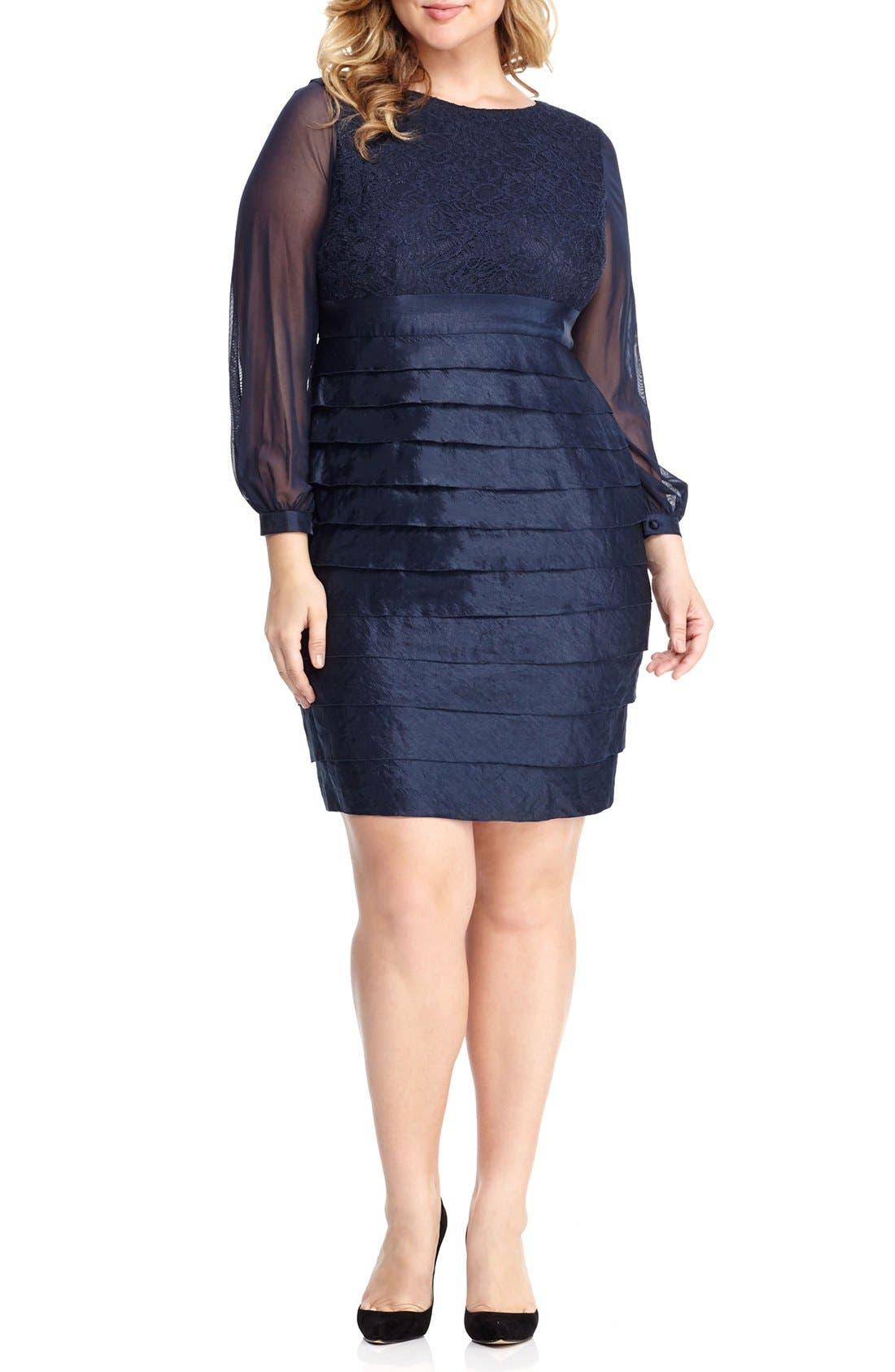 Main Image - London Times Pleat Lace & Taffeta Sheath Dress (Plus Size)