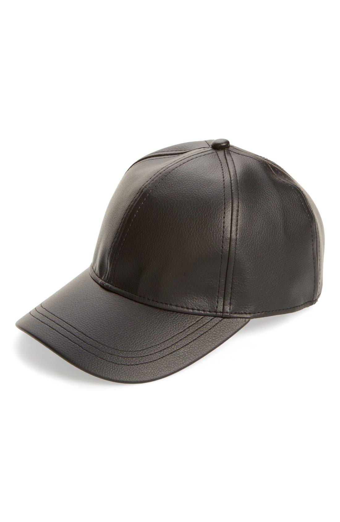 Faux Leather Baseball Cap,                         Main,                         color, Black