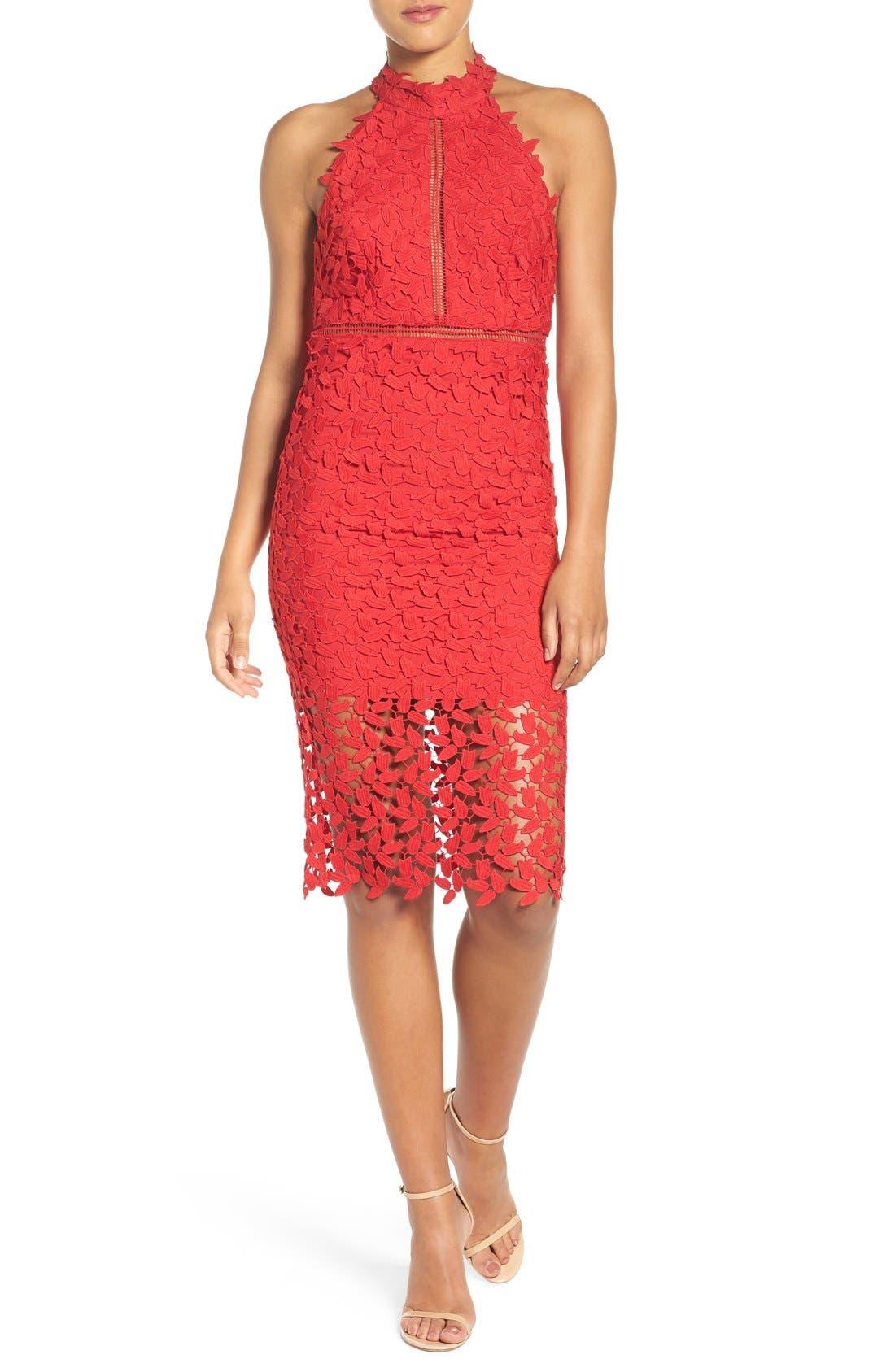 Main Image - Bardot Gemma Halter Lace Sheath Dress