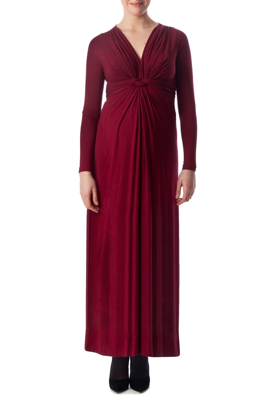 Madonna Maternity Maxi Dress,                         Main,                         color, Ruby Wine
