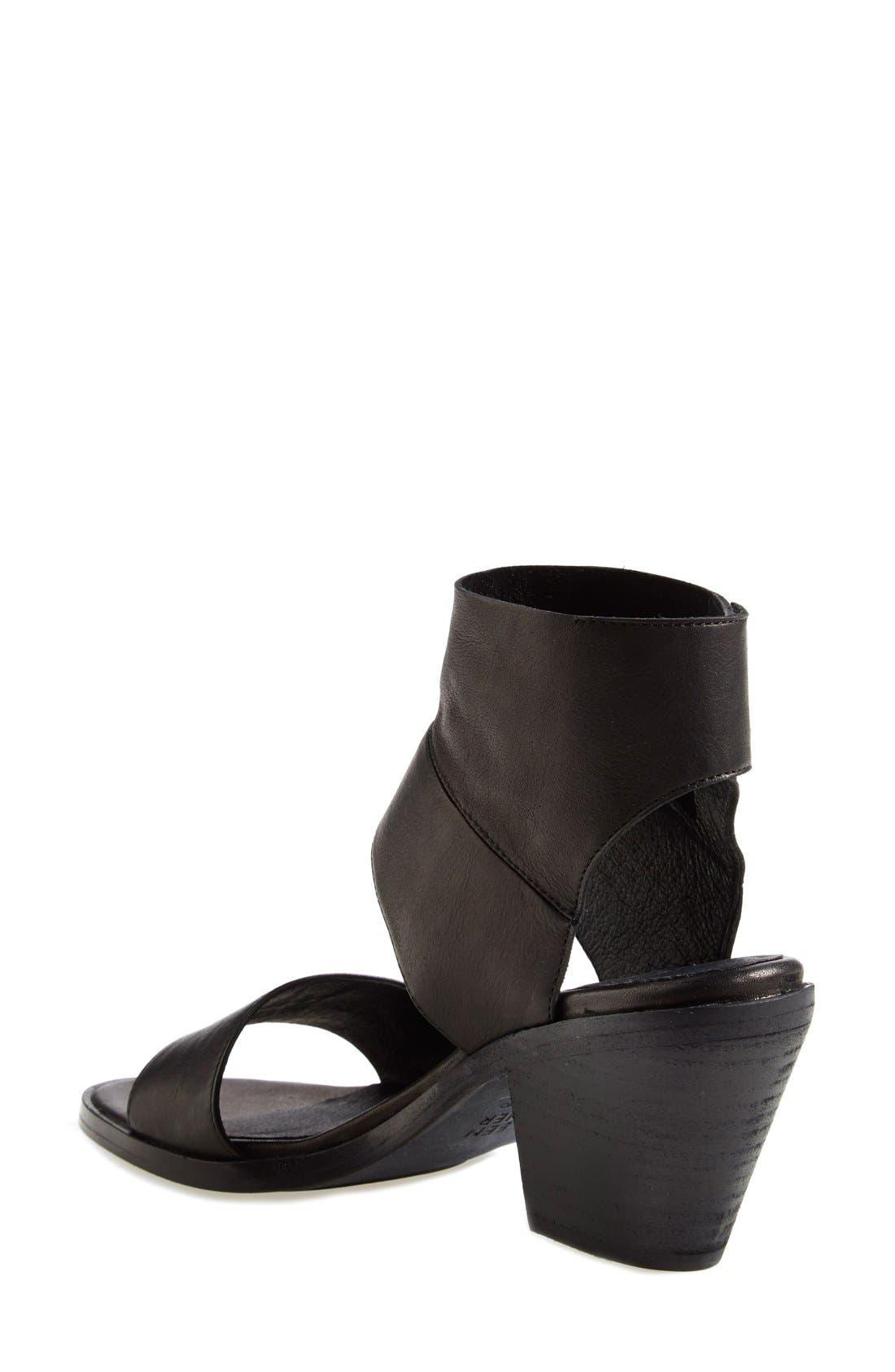 'Art' Tumbled Leather Ankle Cuff Sandal,                             Alternate thumbnail 2, color,                             Black