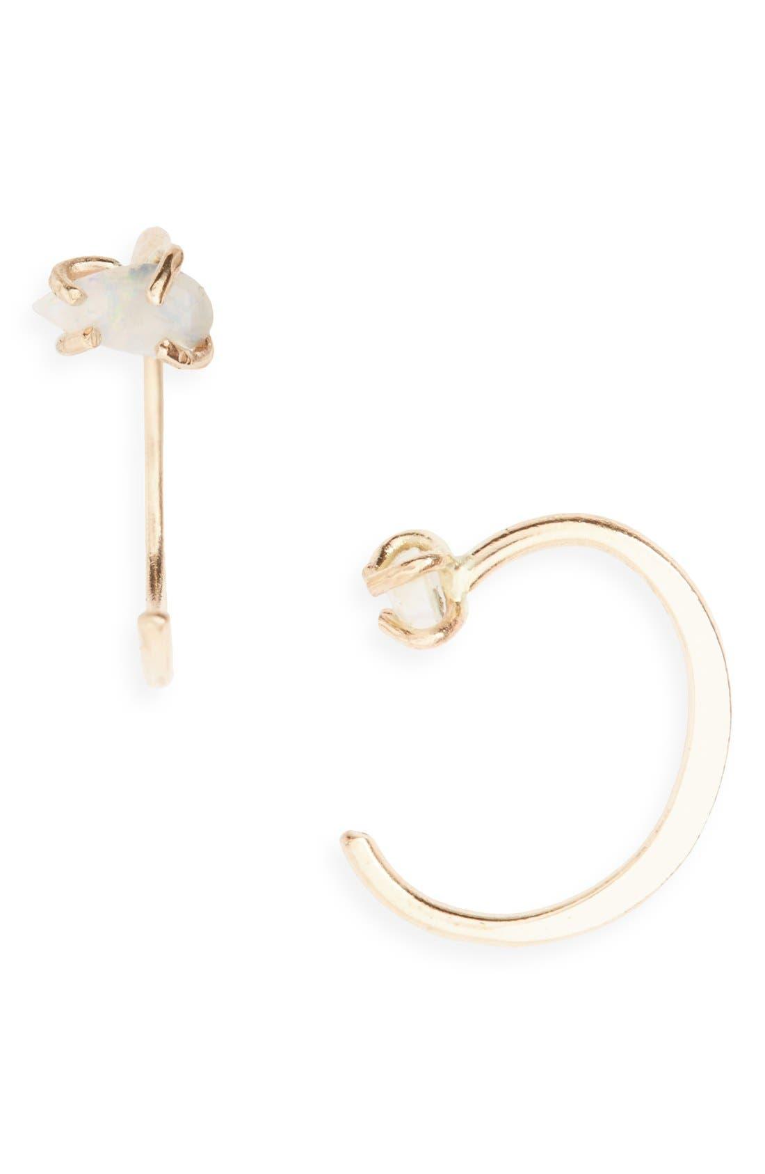 Opal Hug Hoop Earrings,                         Main,                         color, Yellow Gold/ Opal