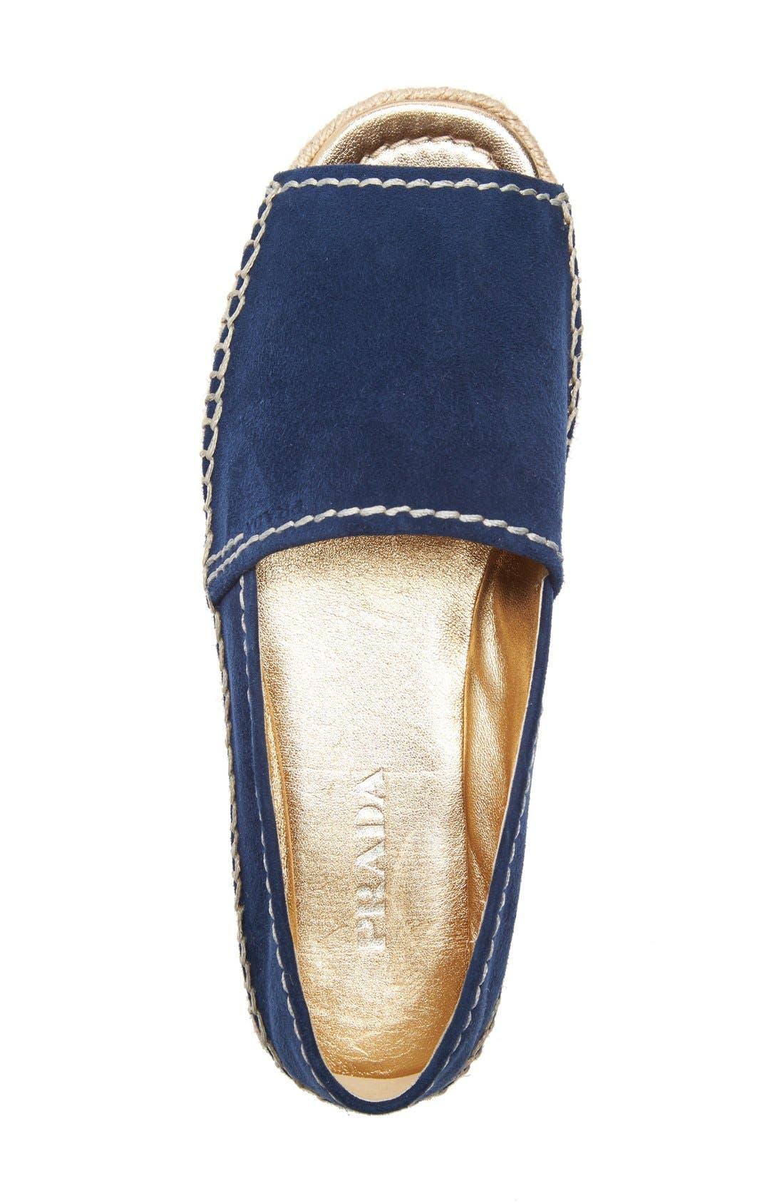 Peep Toe Leather Espadrille,                             Alternate thumbnail 3, color,                             Navy Suede
