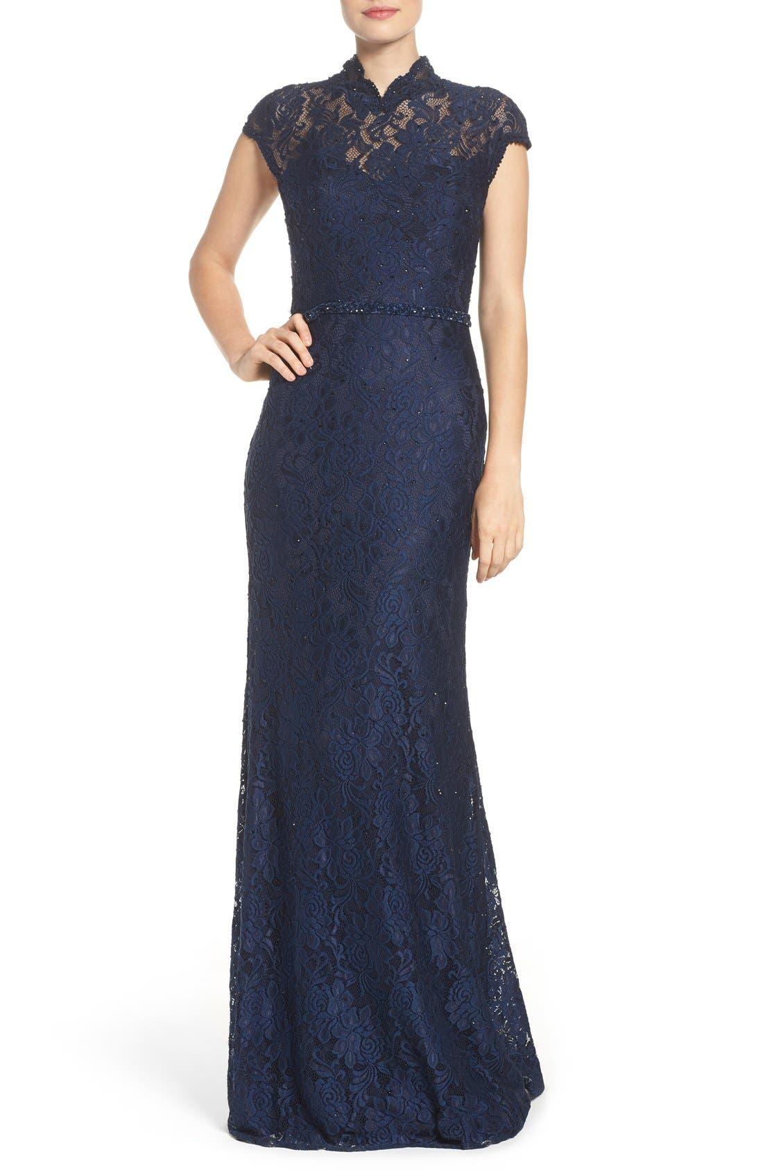La Femme Embellished Lace Gown
