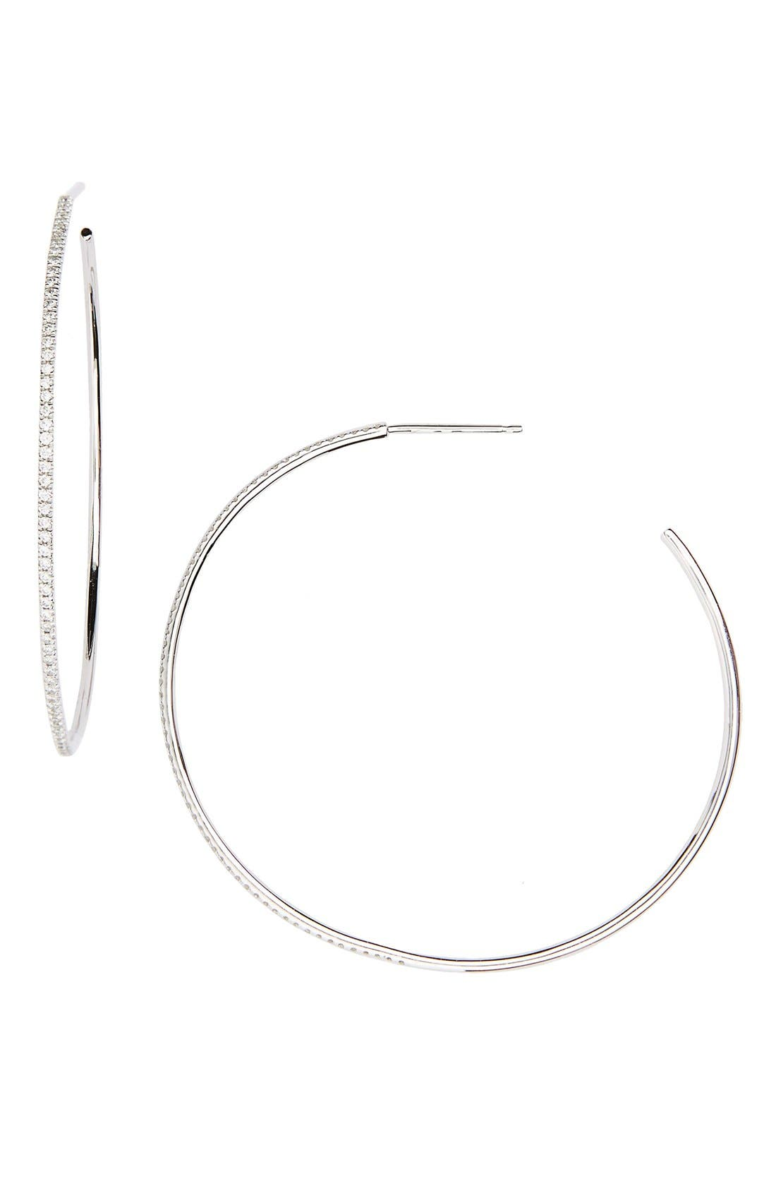 Main Image - Bony Levy Skinny Diamond Hoop Earrings (Nordstrom Exclusive)