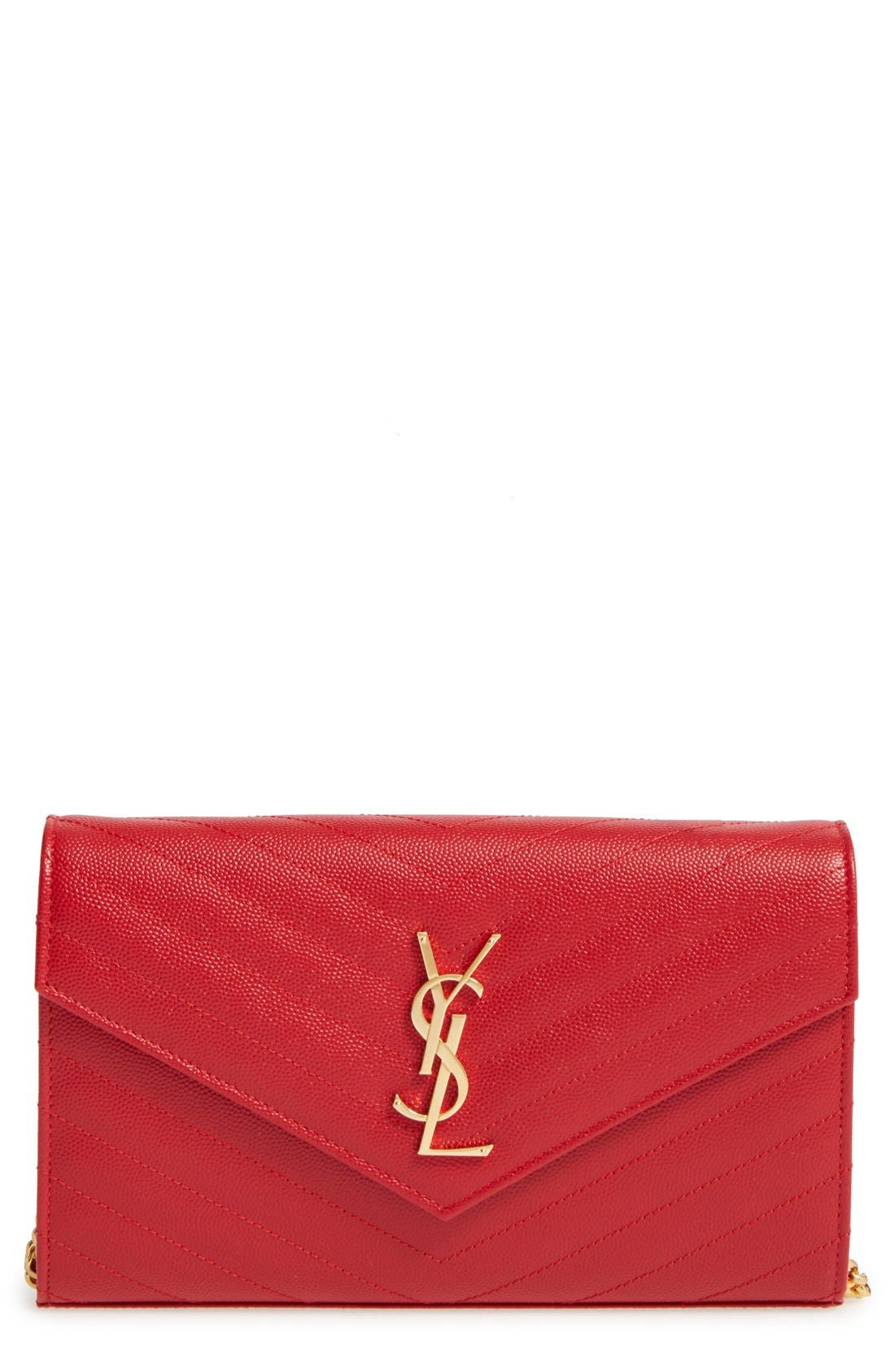 Alternate Image 1 Selected - Saint Laurent 'Large Monogram' Quilted Leather Wallet on a Chain