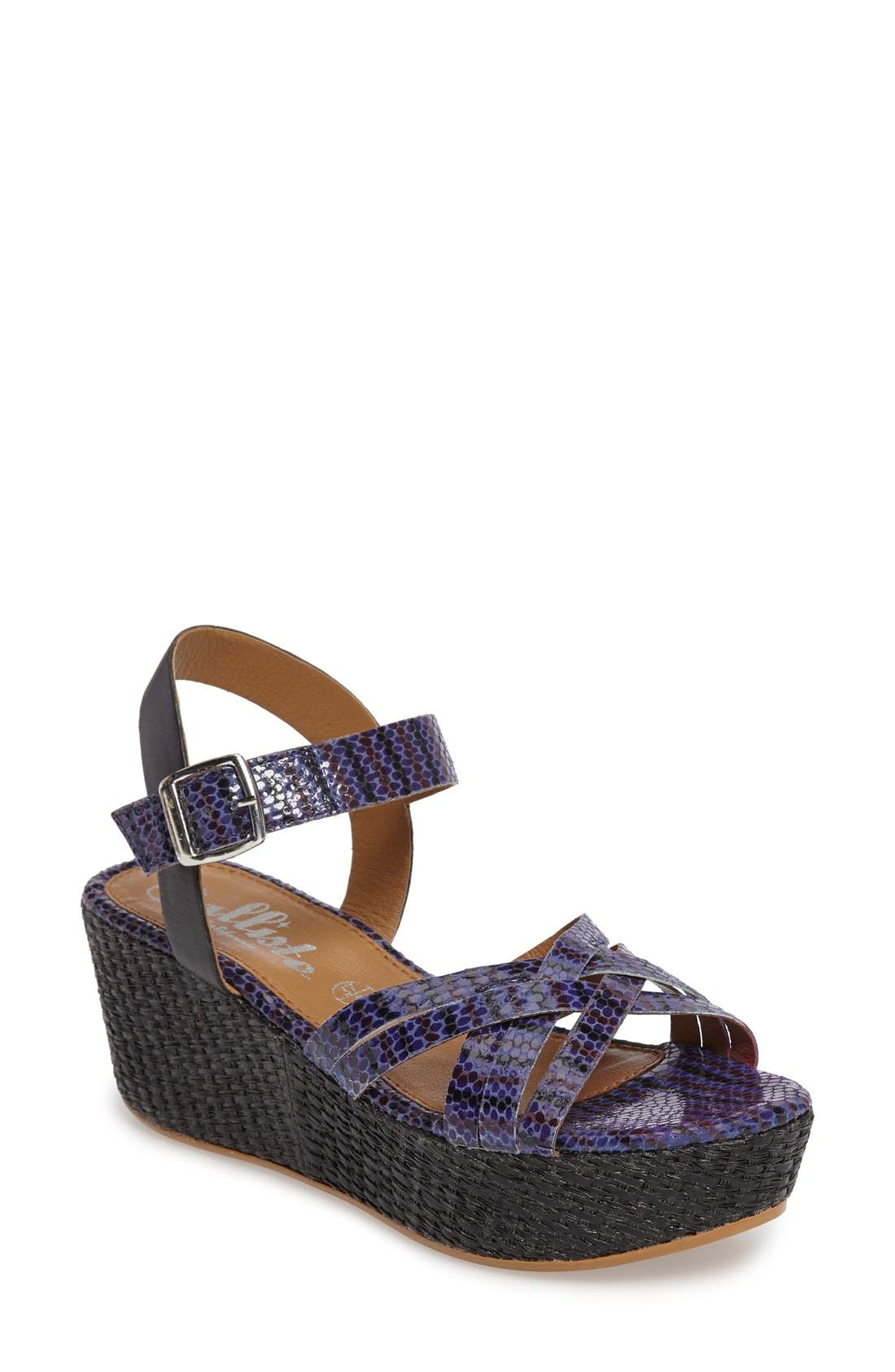 Valencia Platform Wedge Sandal,                             Main thumbnail 1, color,                             Blue Faux Leather