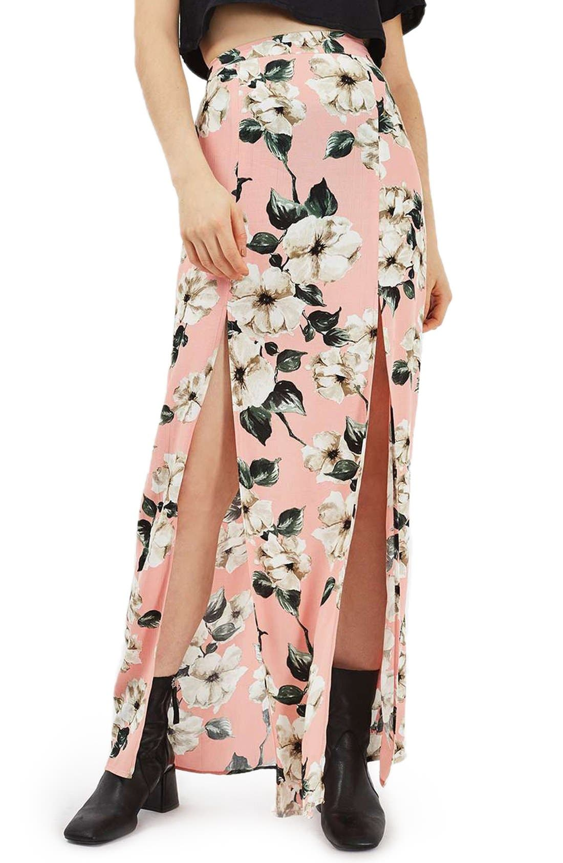 Alternate Image 1 Selected - Topshop Sugar Flower Double Slit Maxi Skirt