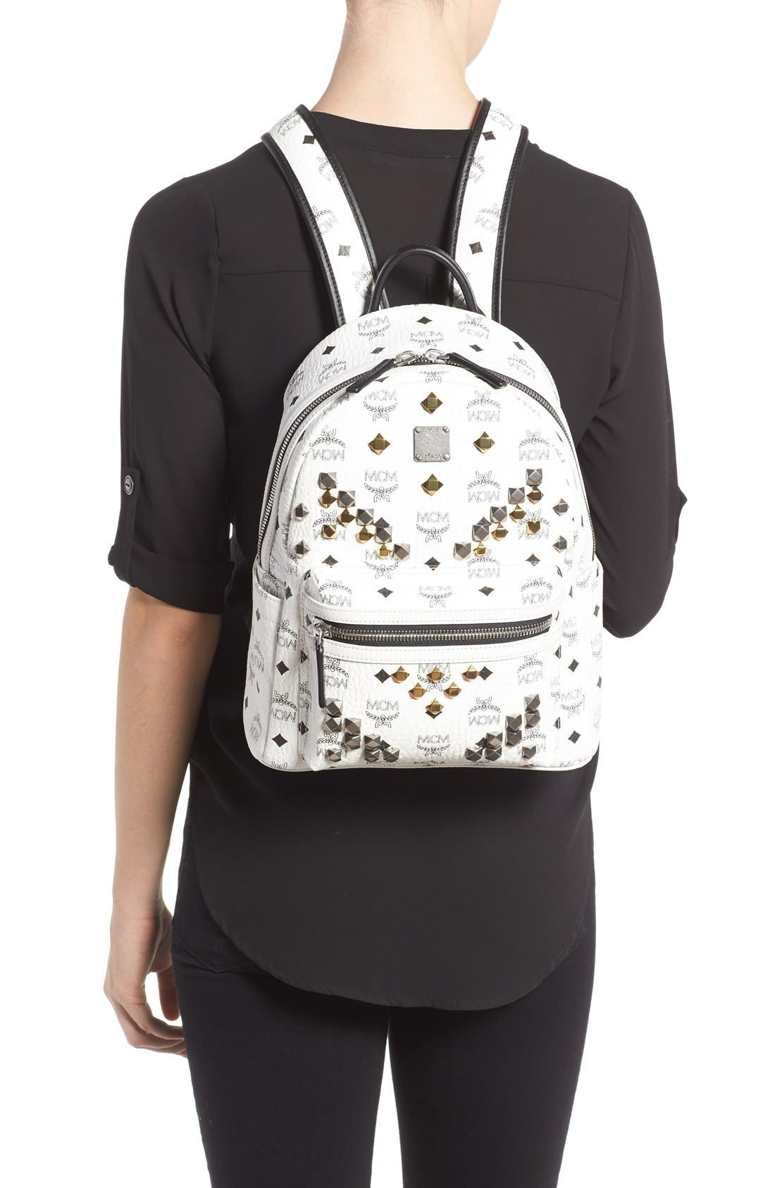 Alternate Image 2  - MCM 'Small Stark - Visetos' Studded Backpack