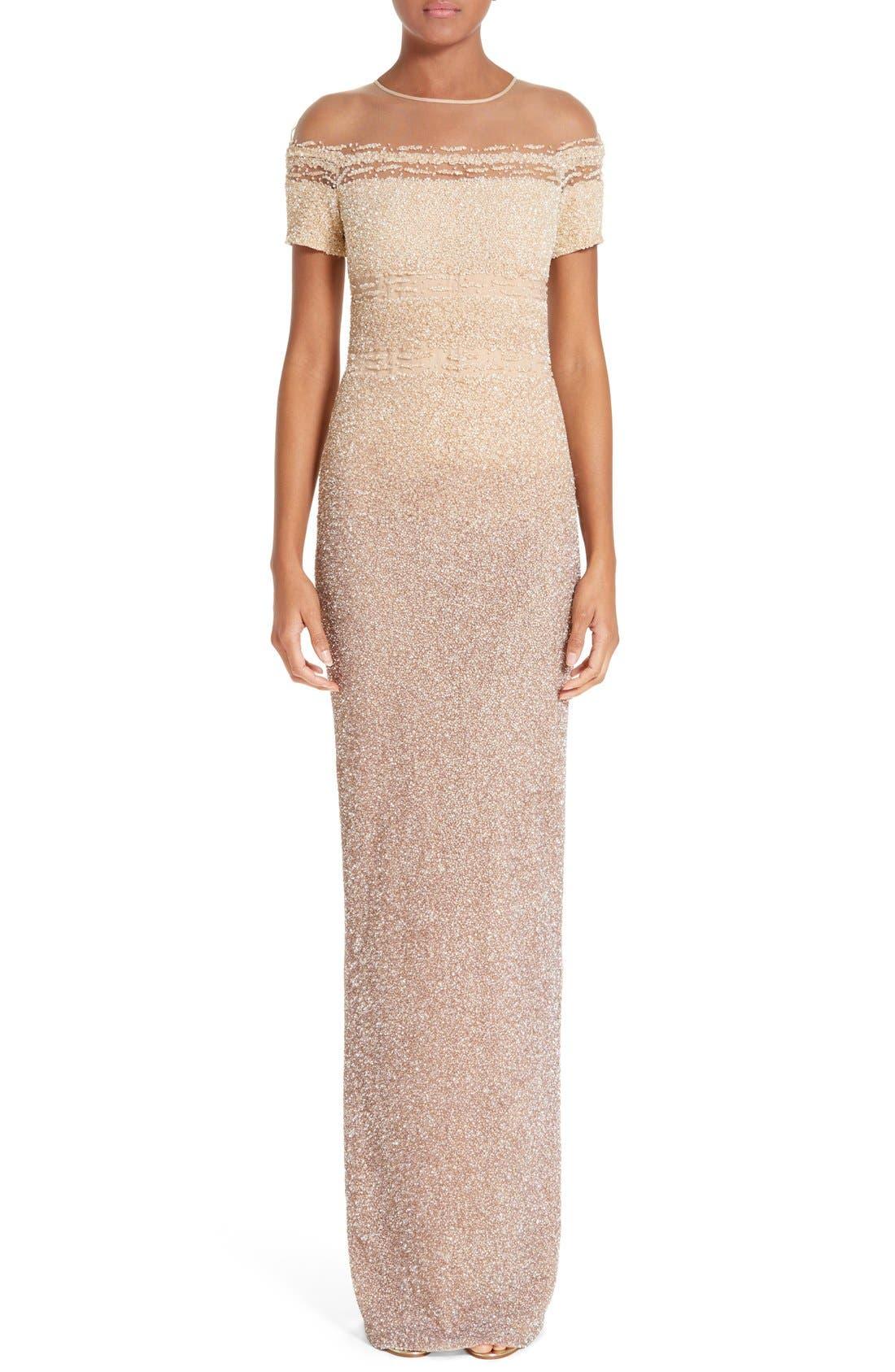 Pamella Roland Signature Sequin Column Gown