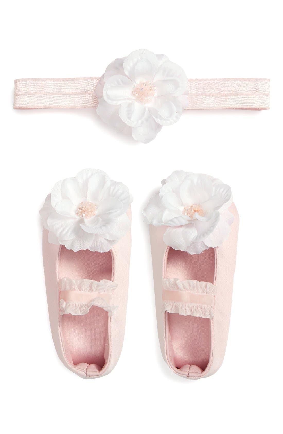 Main Image - PLH Bows & Laces Headband & Shoes Gift Set (Infant)