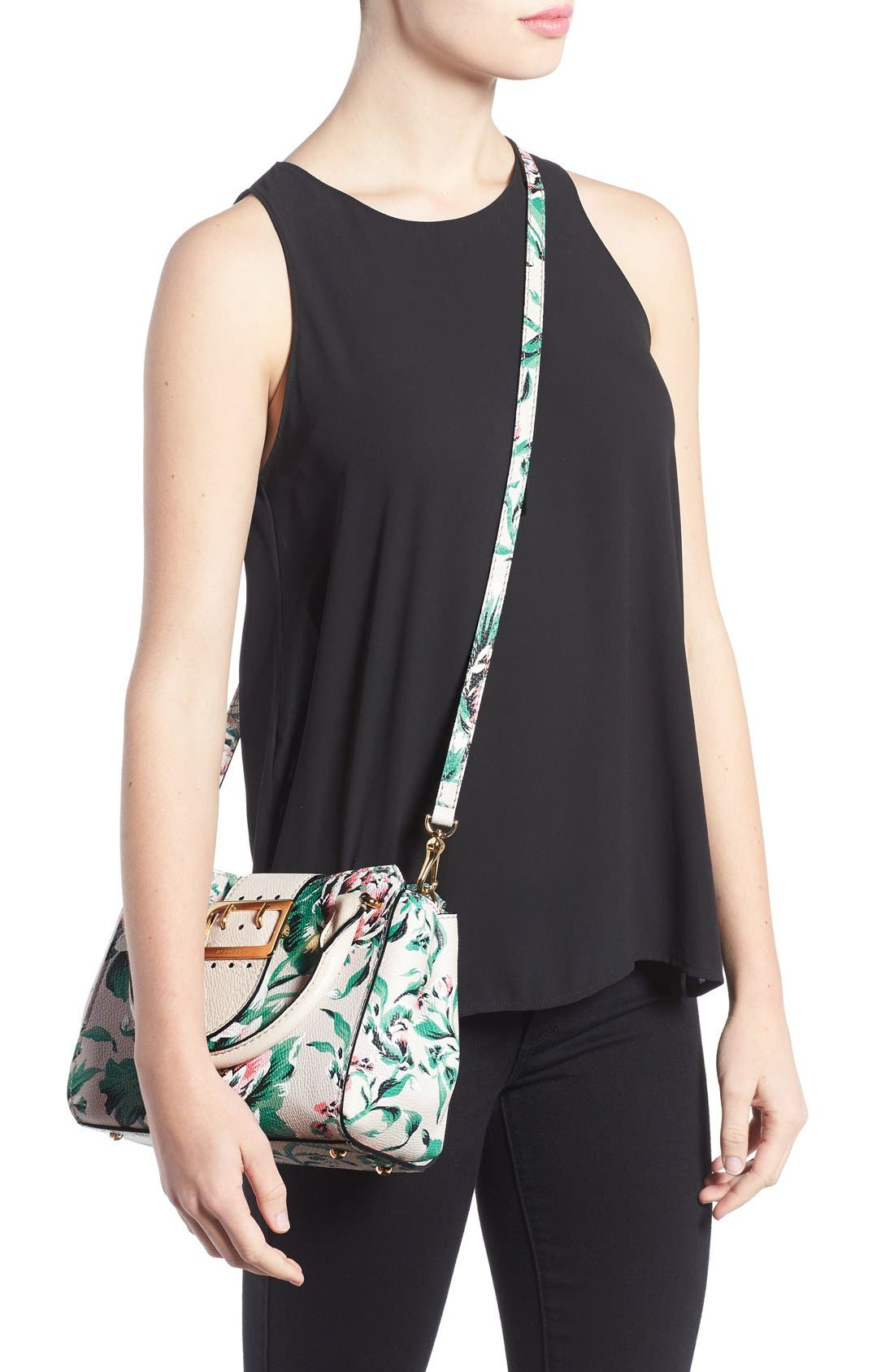 Small Buckle Floral Calfskin Leather Satchel,                             Alternate thumbnail 2, color,                             Emerald Green