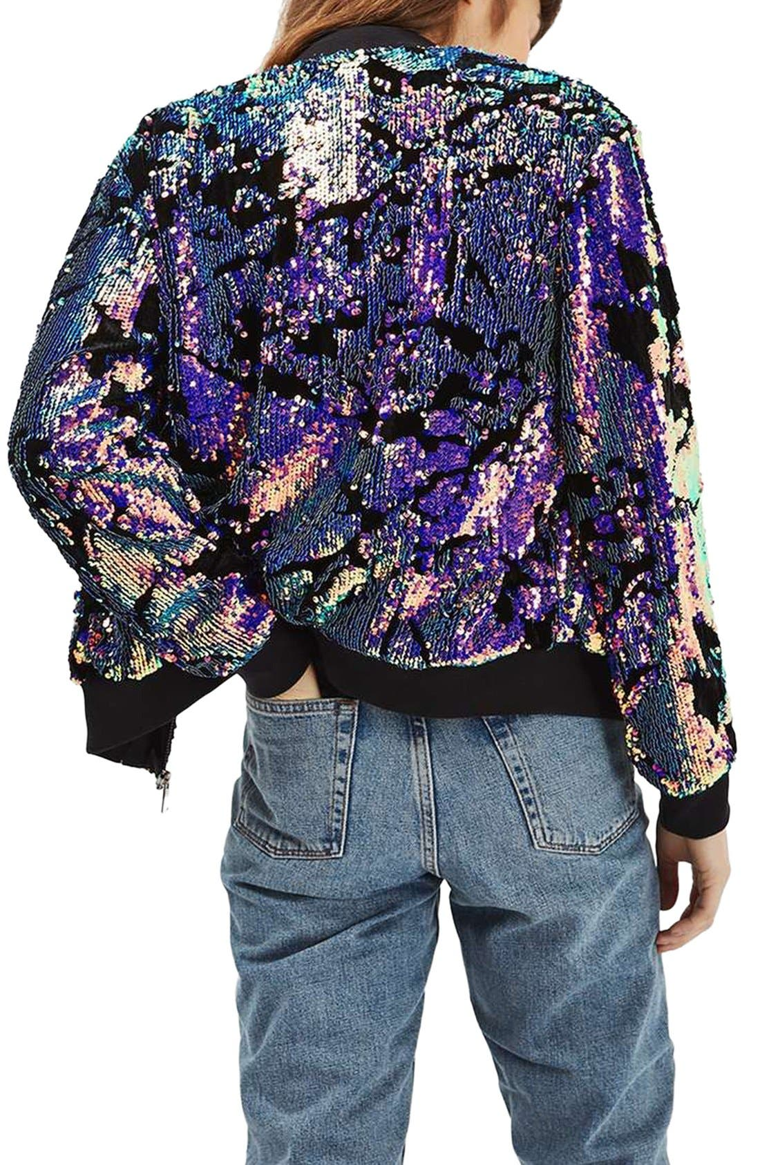 Alternate Image 3  - Topshop Ariel Sequin Velvet Bomber Jacket